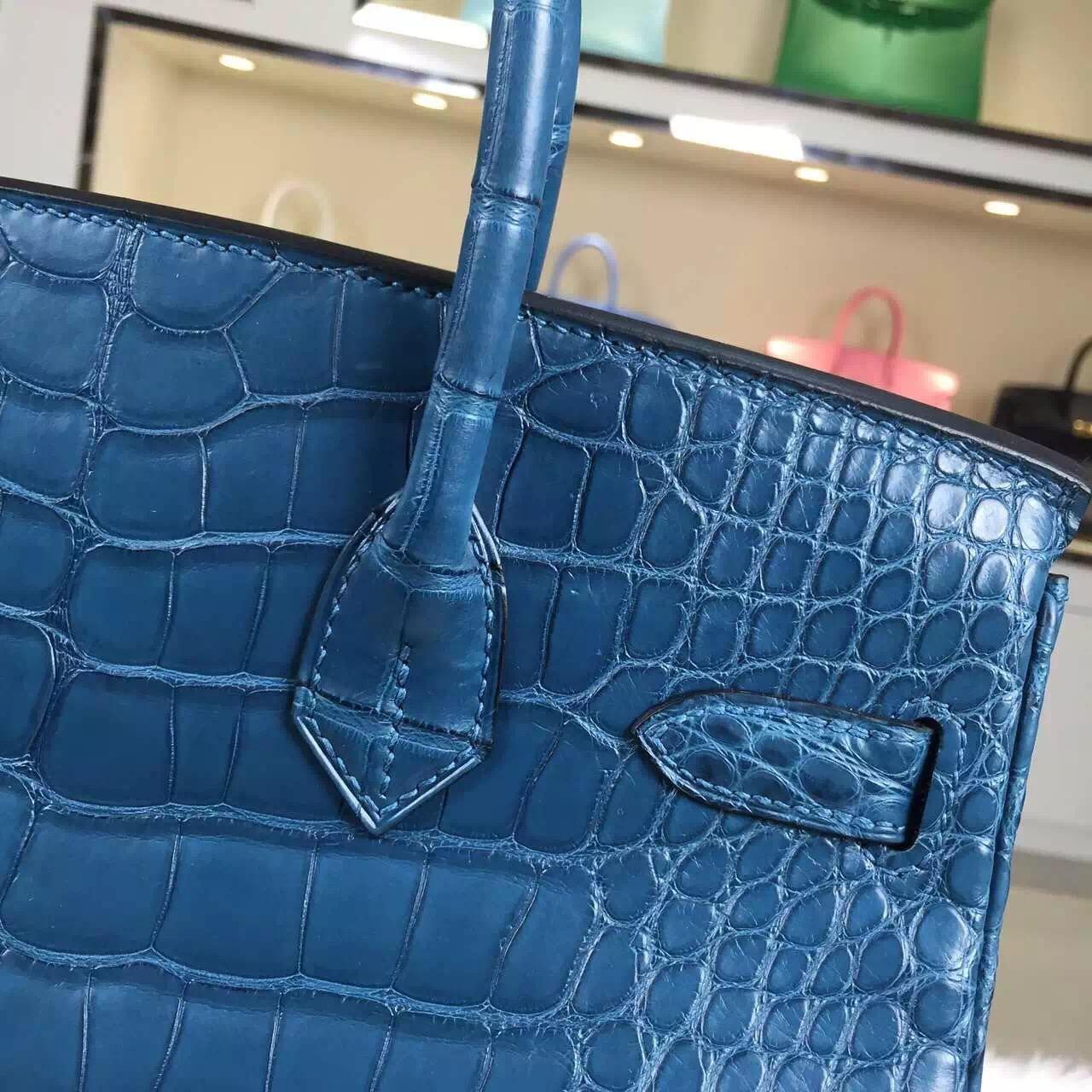 Costom-made Hermes Blue Malta HCP Crocodile Skin Leather Birkin Bag 30cm Silver Hardware