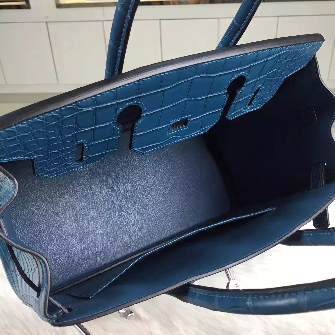 Costom-made Hermes Blue Malta HCP Crocodile Skin Leather Birkin Bag 30cm Silver Hardware