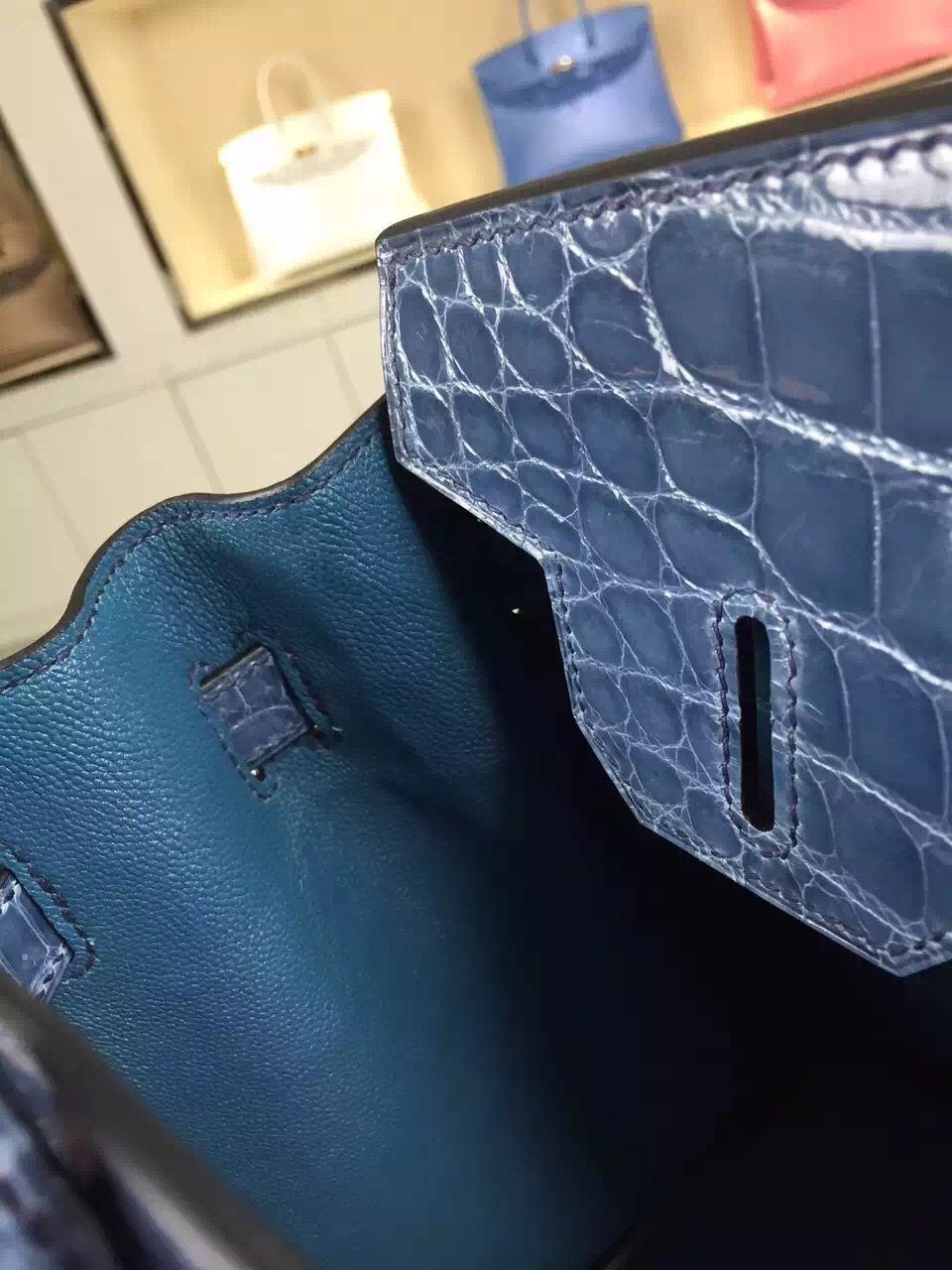 Wholesale Hermes Birkin Bag 30CM Original HCP Crocodile Skin in Blue Jeans
