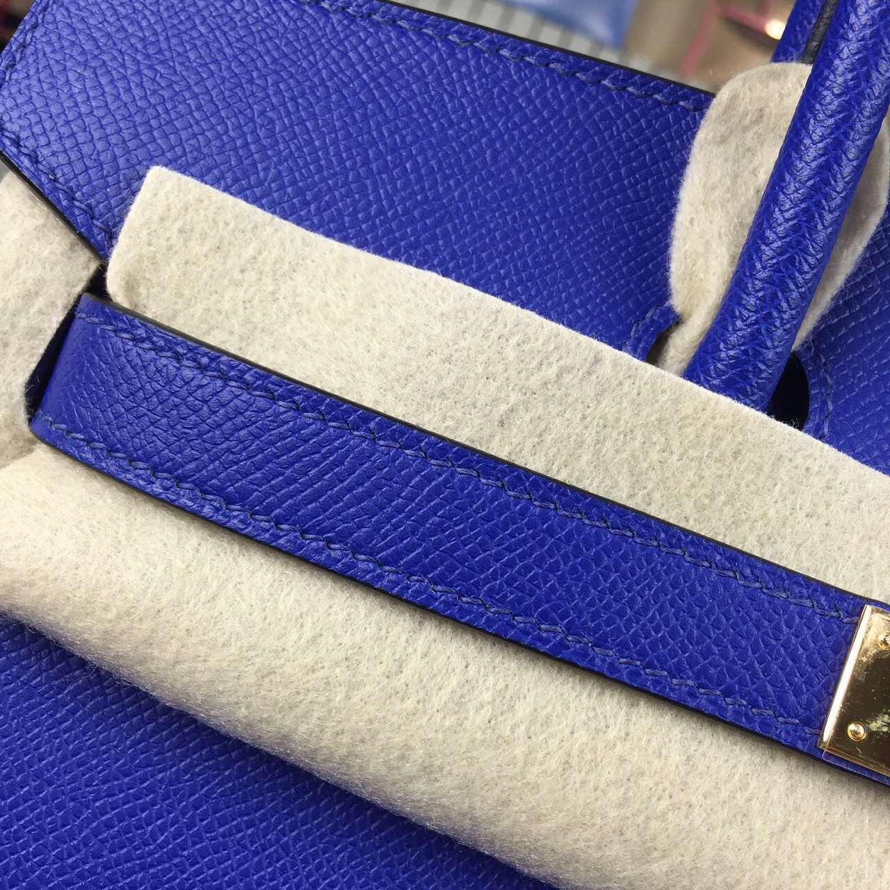Popular Hermes France Epsom Calfskin Leather 7T Blue Electric Birkin Bag 30cm