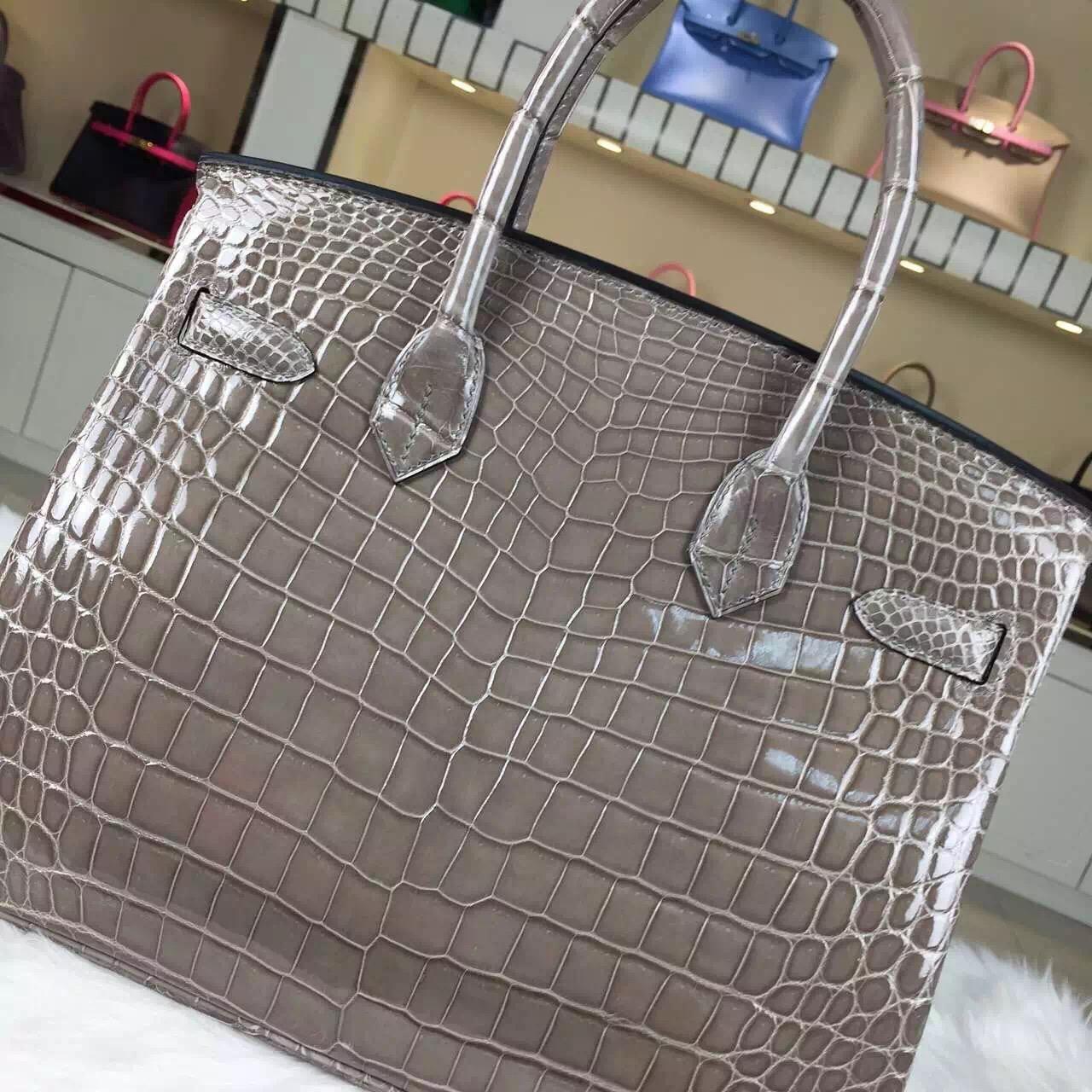 On Sale Hermes Mousse Grey HCP Original Crocodile Leather Birkin Bag30cm Ladies' Handbag