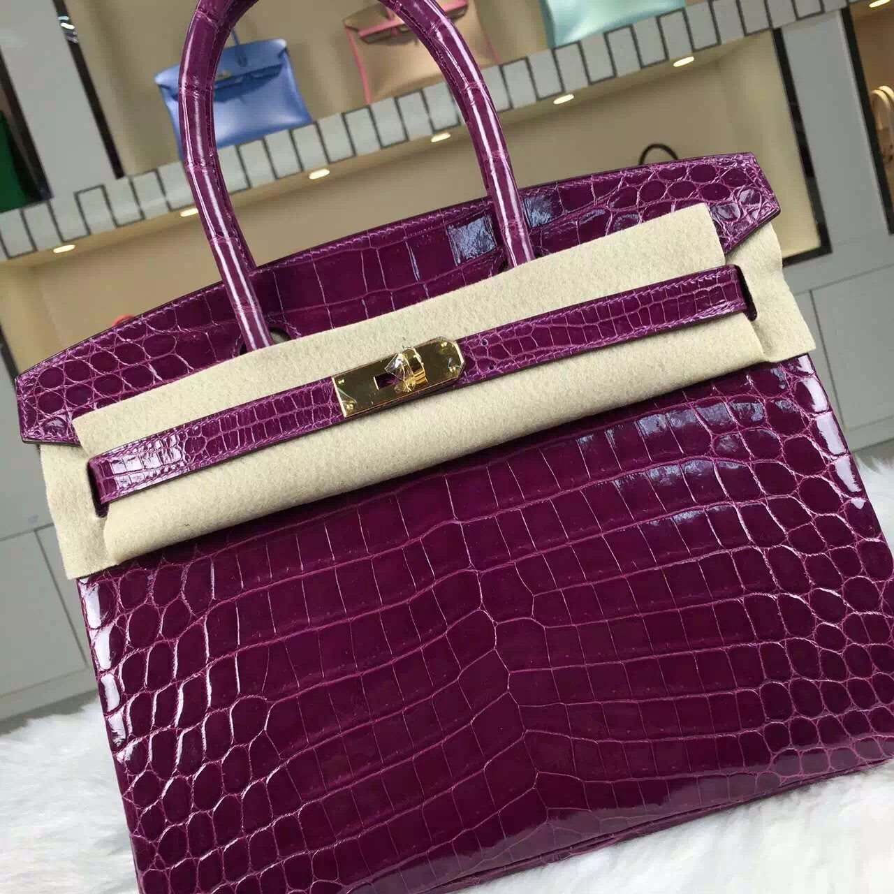 Discount Hermes Birkin Bag 30cm Grape Purple Crocodile Skin Leather Tote Bag