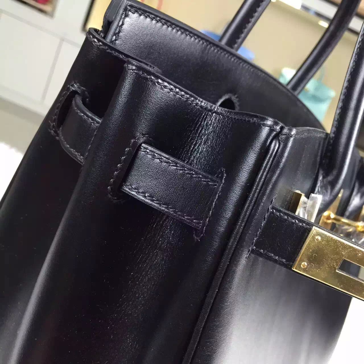 High Quality Hermes Black France Box Calf Leather Birkin Bag 30cm Gold Hardware