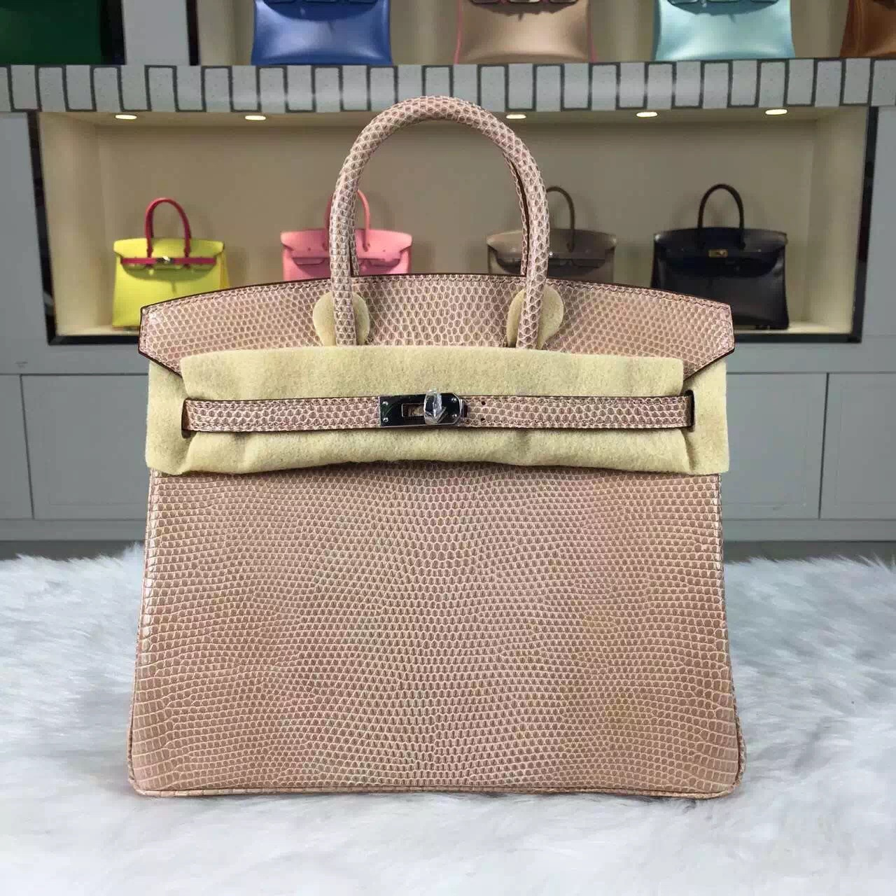 Hermes Customised France Imported Lizard Leather Birkin Bag30cm in Apricot