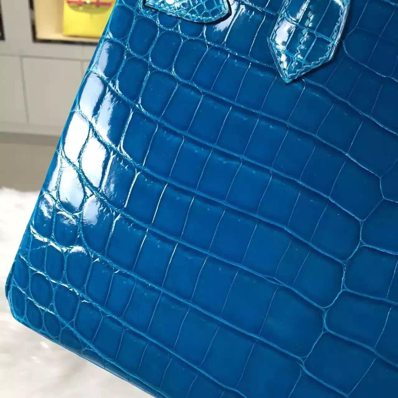 Discount Hermes 7W Blue Izmir Original Crocodile Leather Birkin Bag30cm Gold Hardware