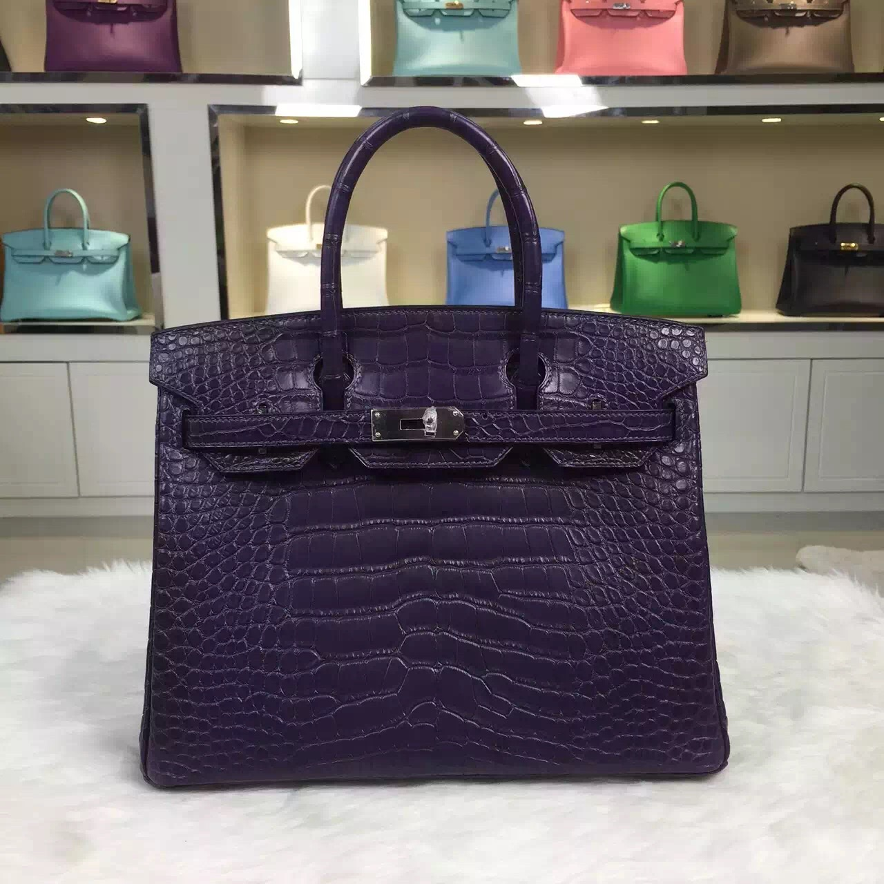 Wholesale Hermes Black Currant Purple Crocodile matt Leather Birkin Bag 30CM