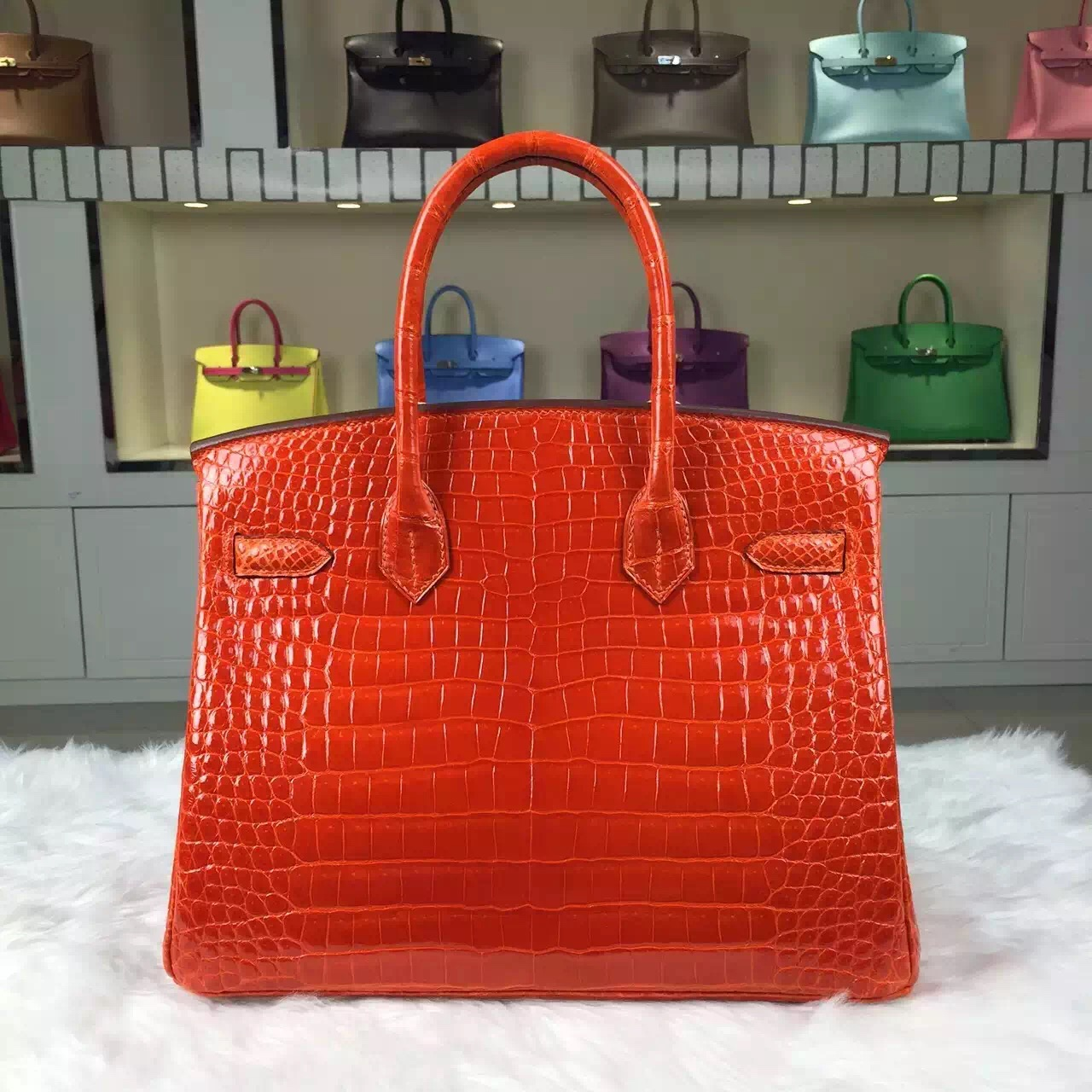 Hermes Custom-made Birkin 30CM Original Crocodile Shiny Leather Tote Bag in Orange