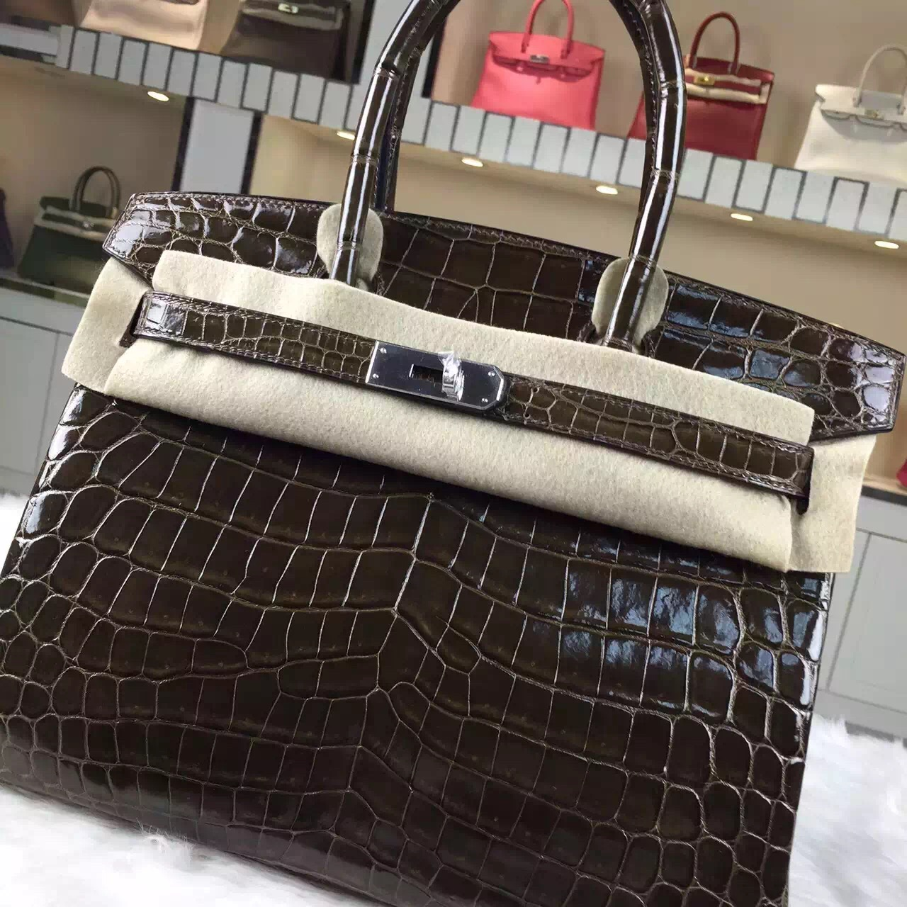 Discount Hermes HCP Crocodile Shiny Leather Birkin Bag30cm in 6H Olive Green