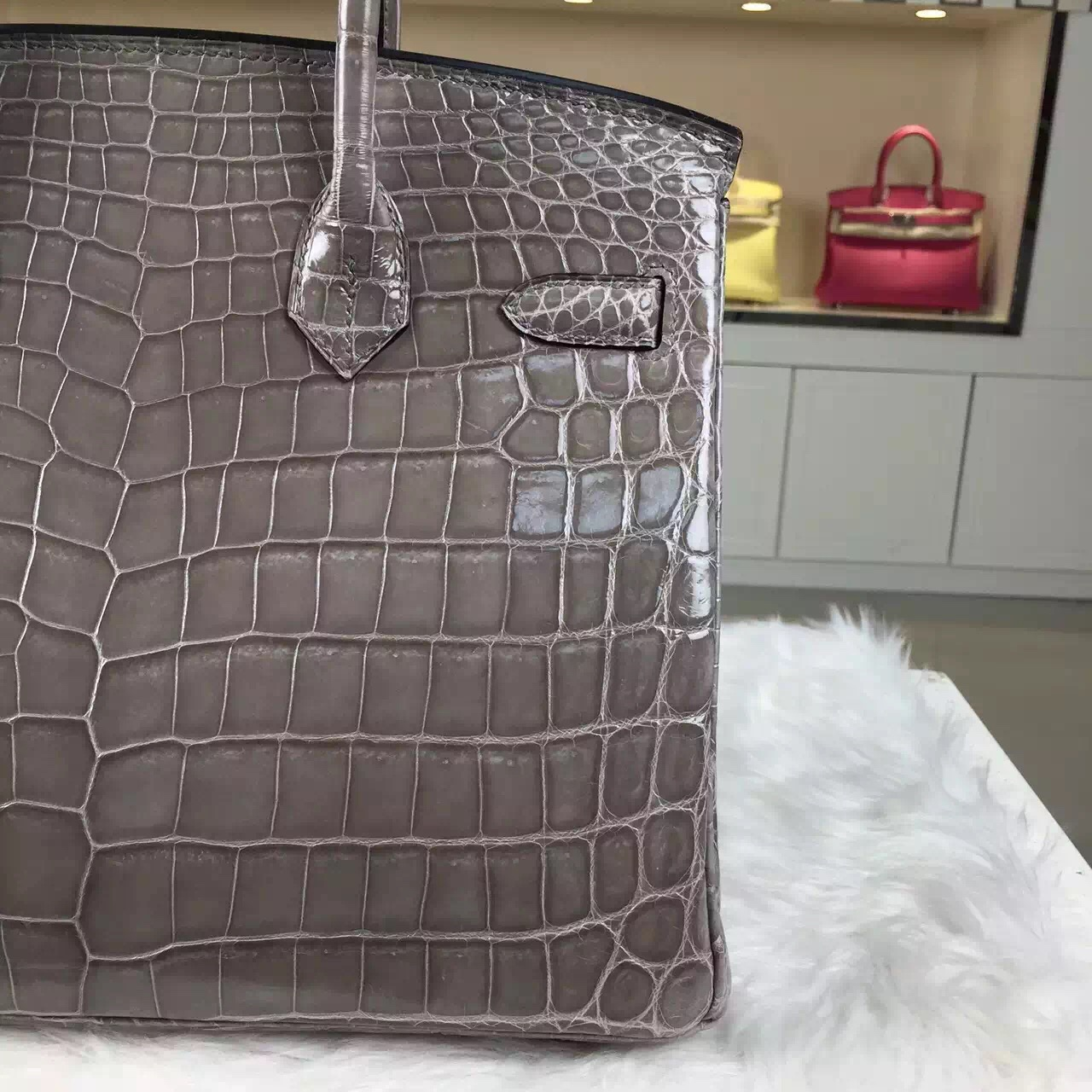 Wholesale Hermes Birkin30CM Etoupe Grey Original Crocodile Shiny Leather Gold Hardware