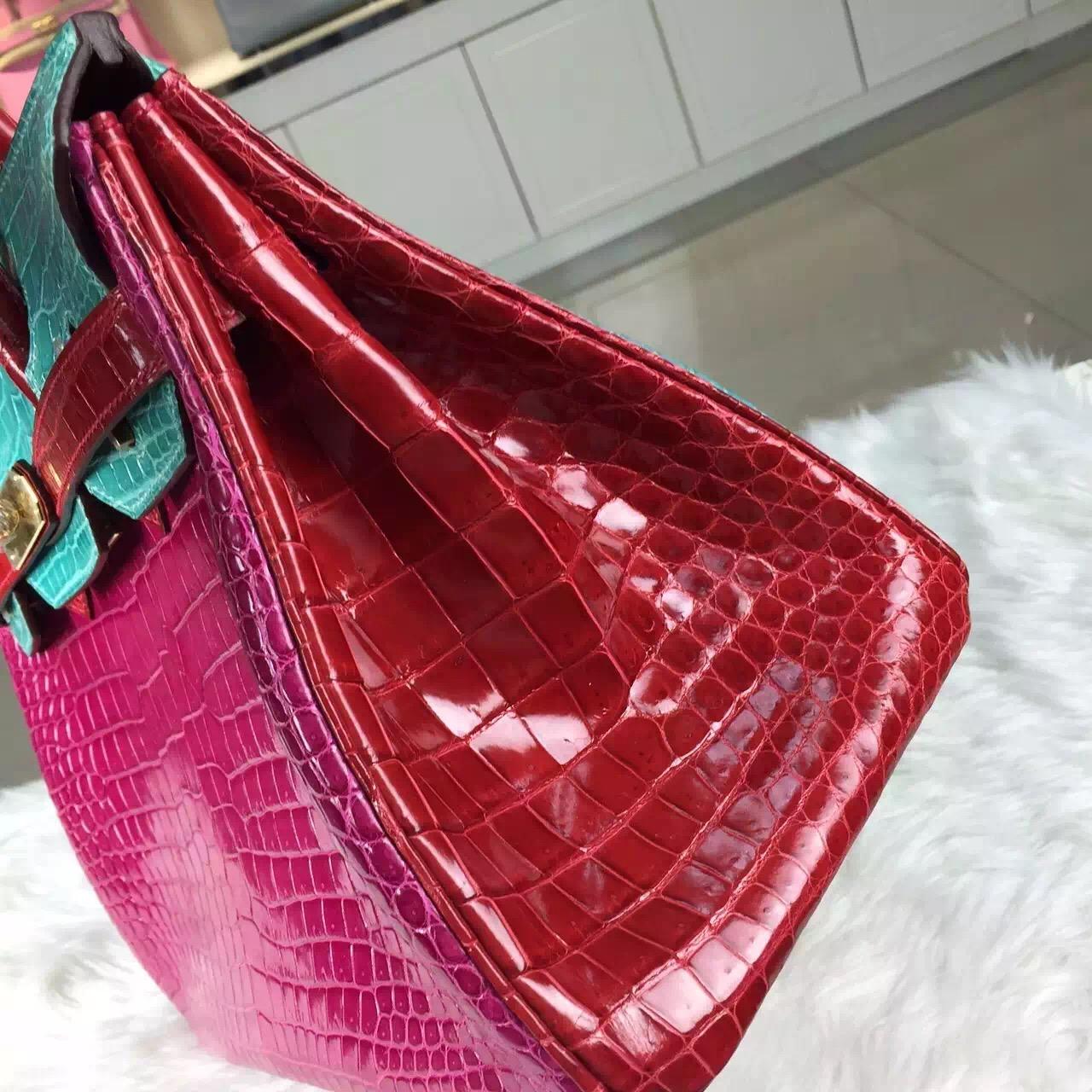 2015 New Hermes Birkin Bag30CM Color-blocking Crocodile Shiny Leather J5/6W/Q5