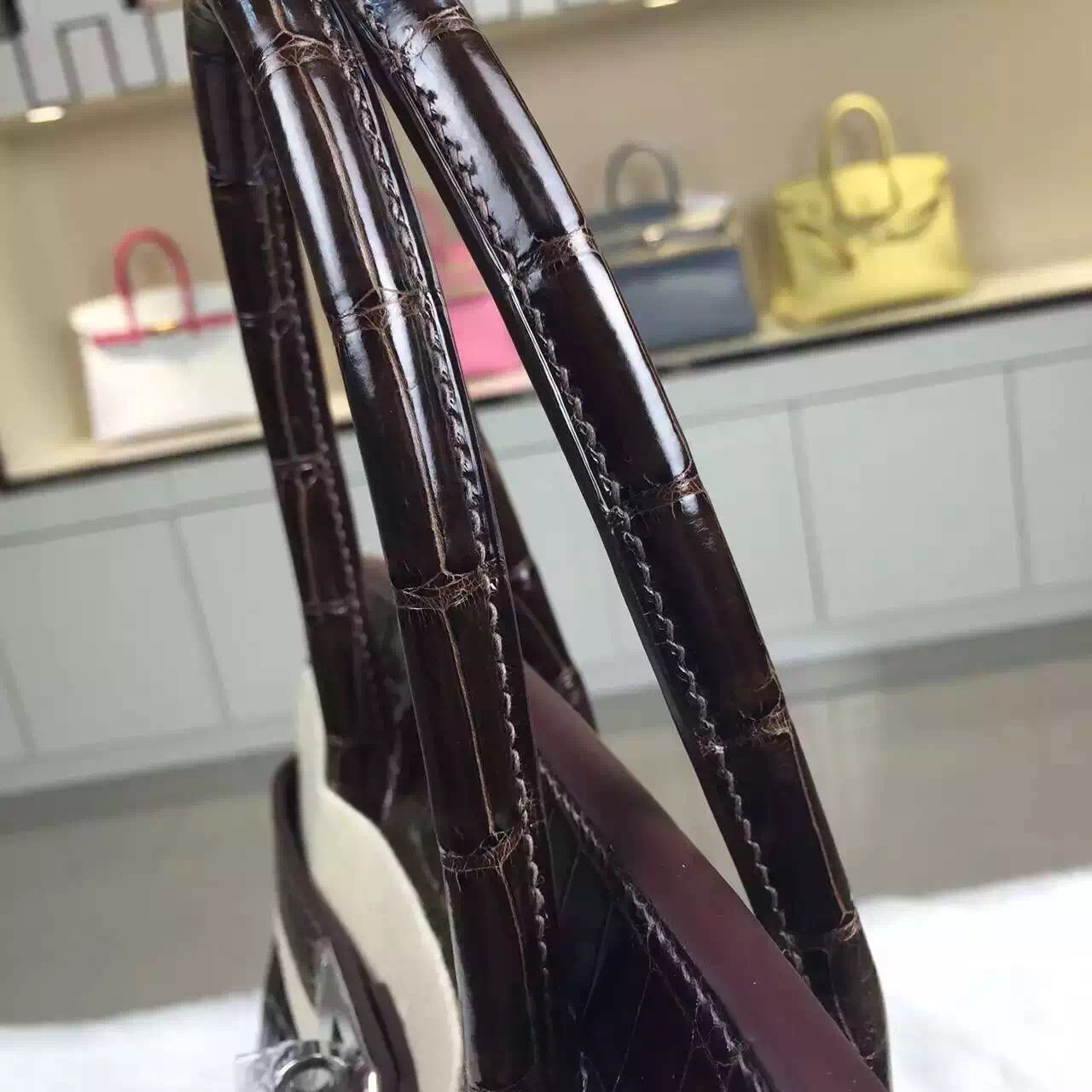 Hand Stitching Hermes Birkin Bag30cm Dark Coffee HCP Crocodile Leather Handbag