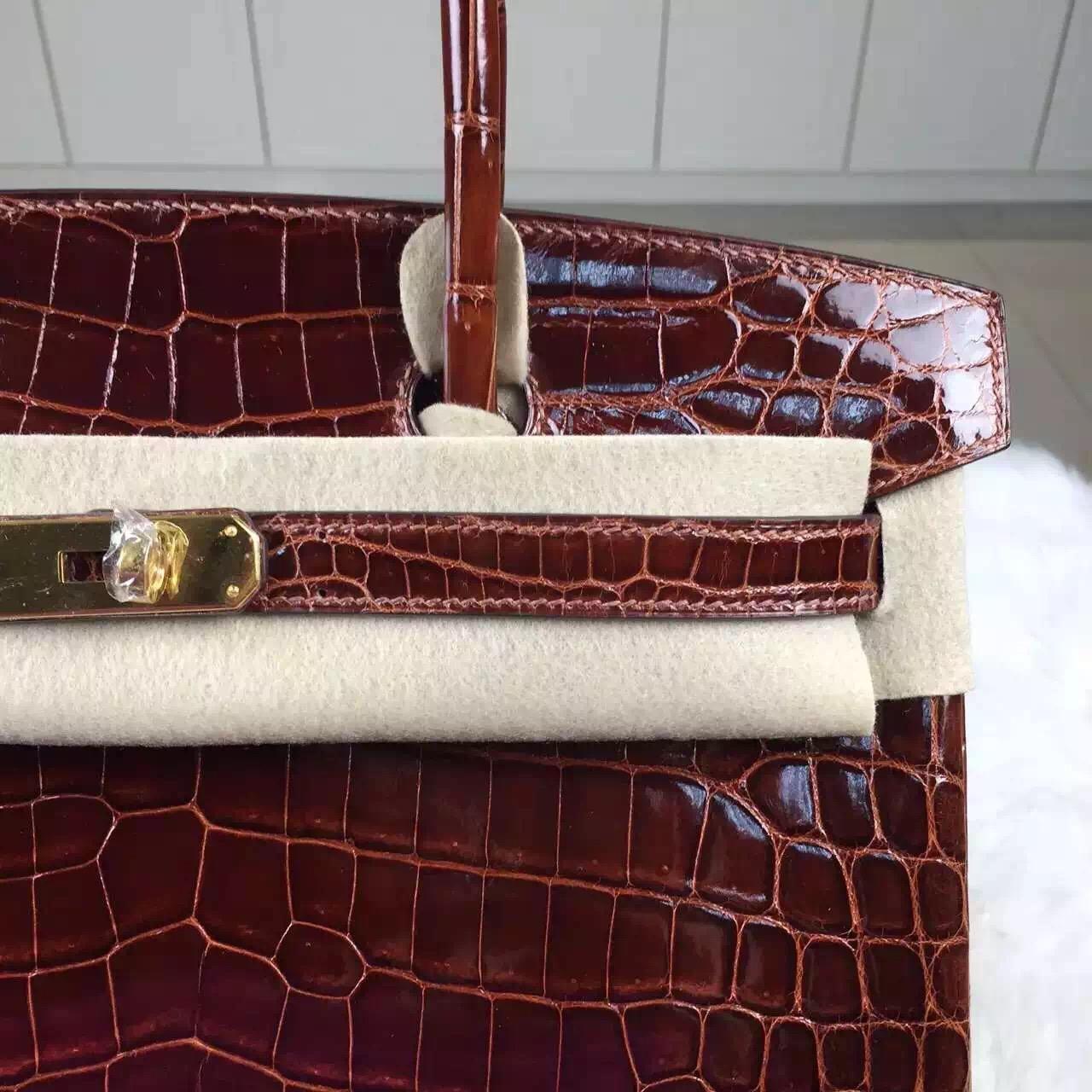 Sale Hermes Birkin Bag30cm CK33 Honey Brown Crocodile Shiny Leather Tote Bag