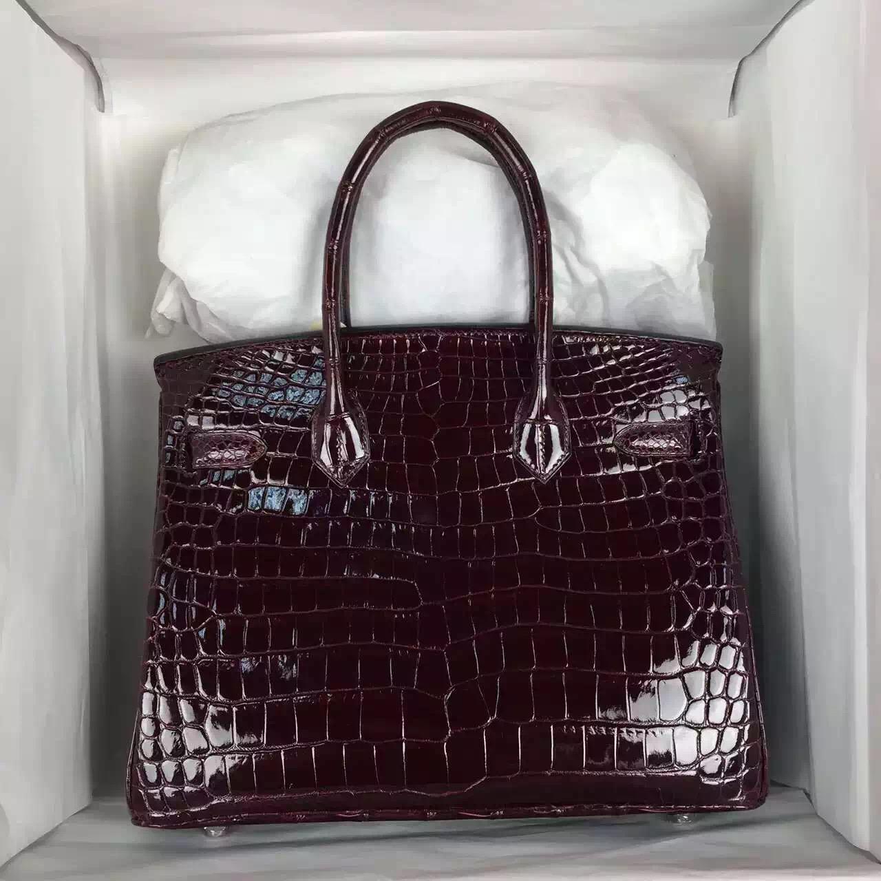 Hand Stitching Hermes CK57 Bordeaux Red HCP Crocodile Shiny Leather Birkin Bag30cm