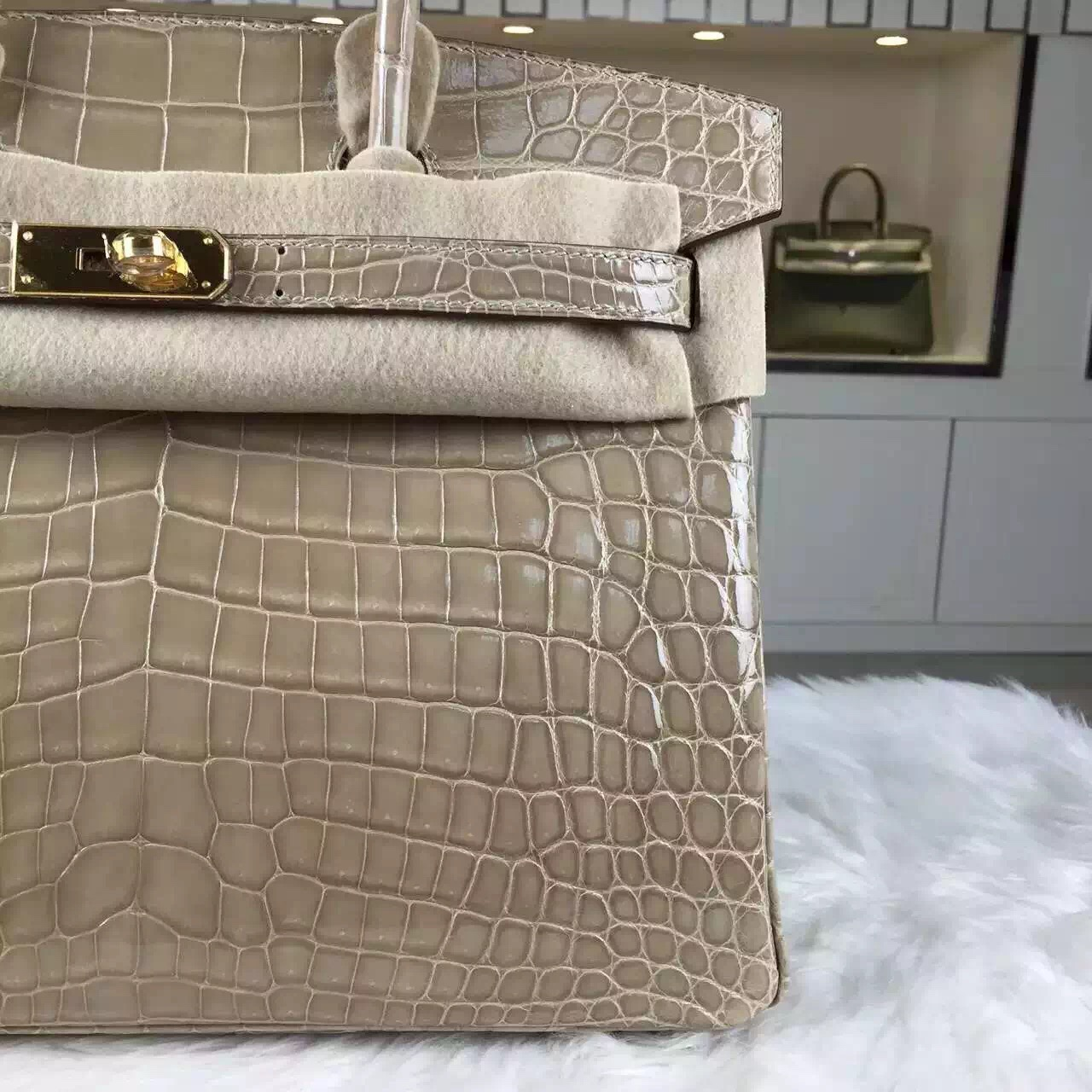 Hermes Custom-made Original Crocodile Shiny Leather Birkin Bag30cm in Apricot
