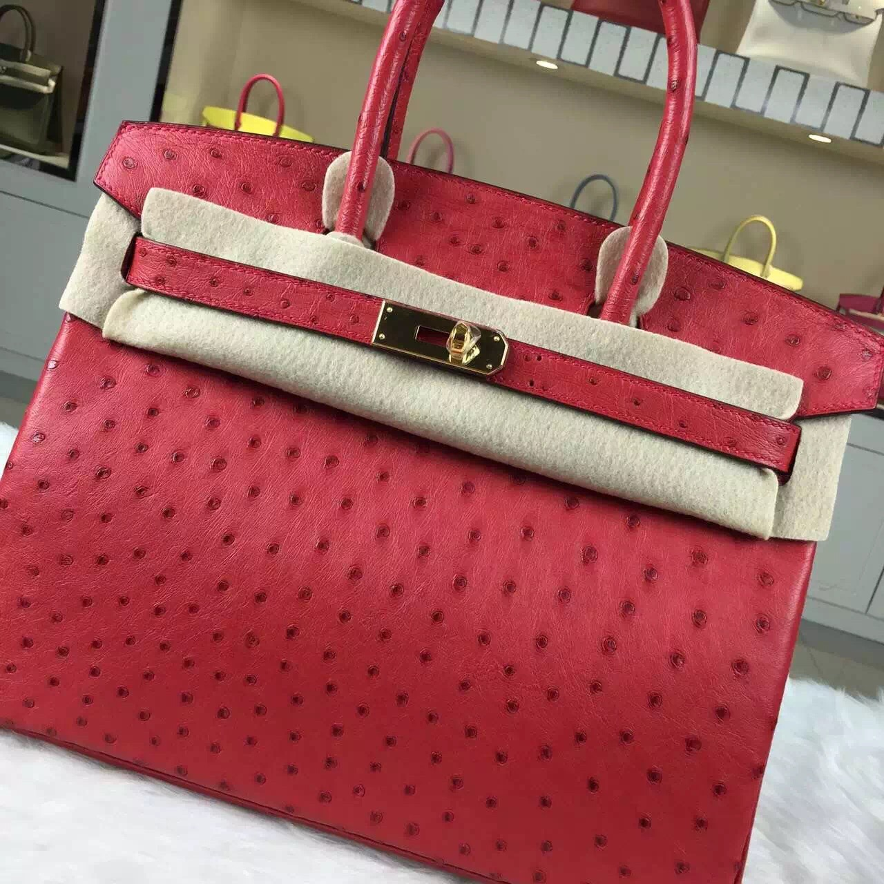 Discount Hermes Azalea Red France Ostrich Leather Birkin Bag30cm Gold Hardware