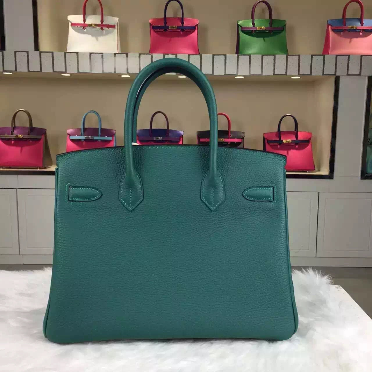 Discount Hermes Z6 Malachite Green France Togo Leather Birkin Bag30cm