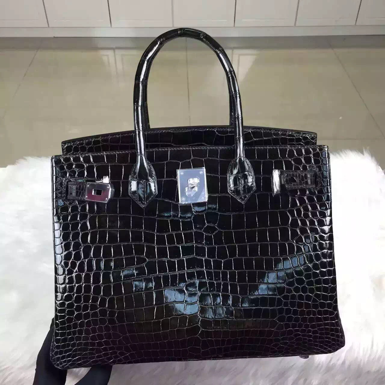 Cheap Hermes Birkin30 CK88 Graphite Grey Crocodile Shiny Leather