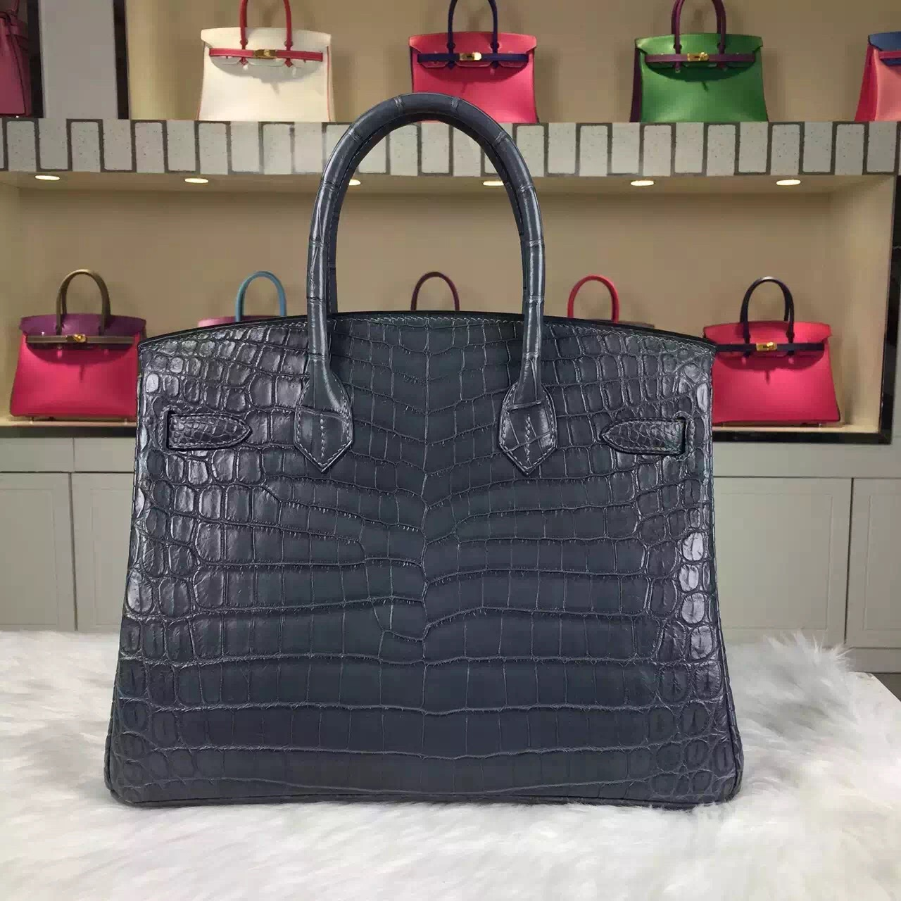 Custom-made Hermes Etain Grey Crocodile Matt Leather Birkin Bag30cm
