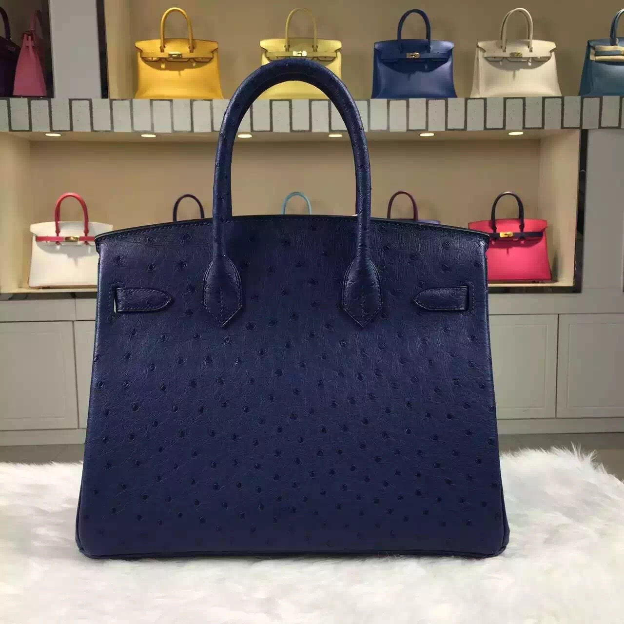 Sale Hermes Birkin Bag30cm Blue Saphir Original Ostrich Leather