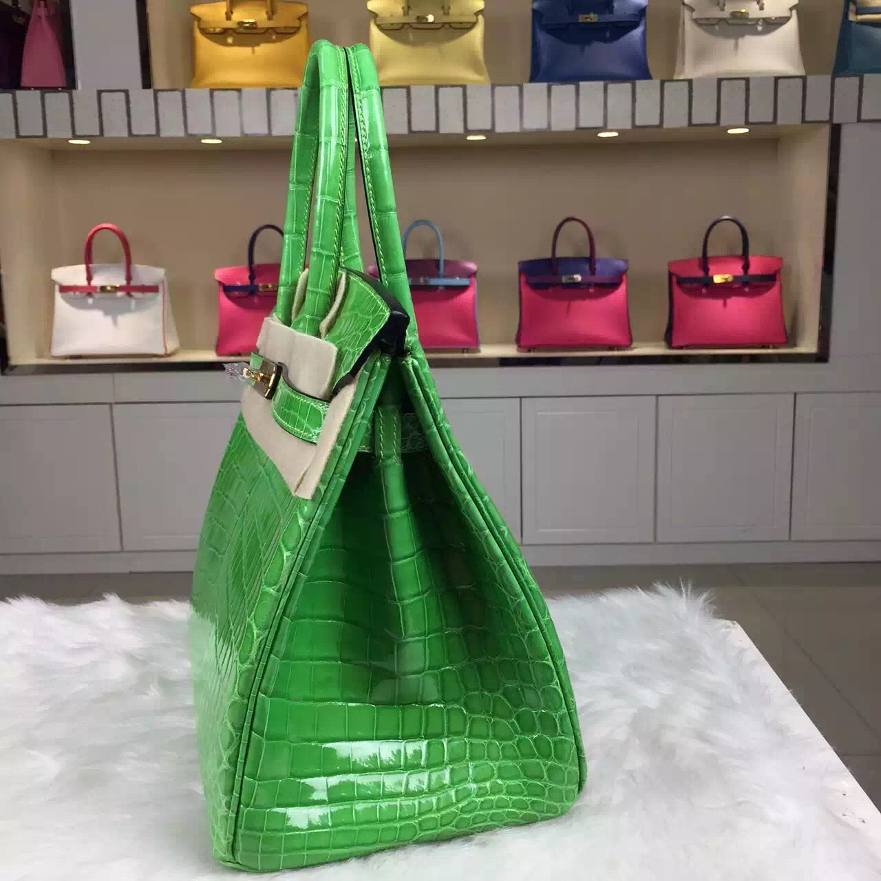 New Pretty Hermes Fluorescent Green Crocodile Leather Birkin30 Gold Hardware