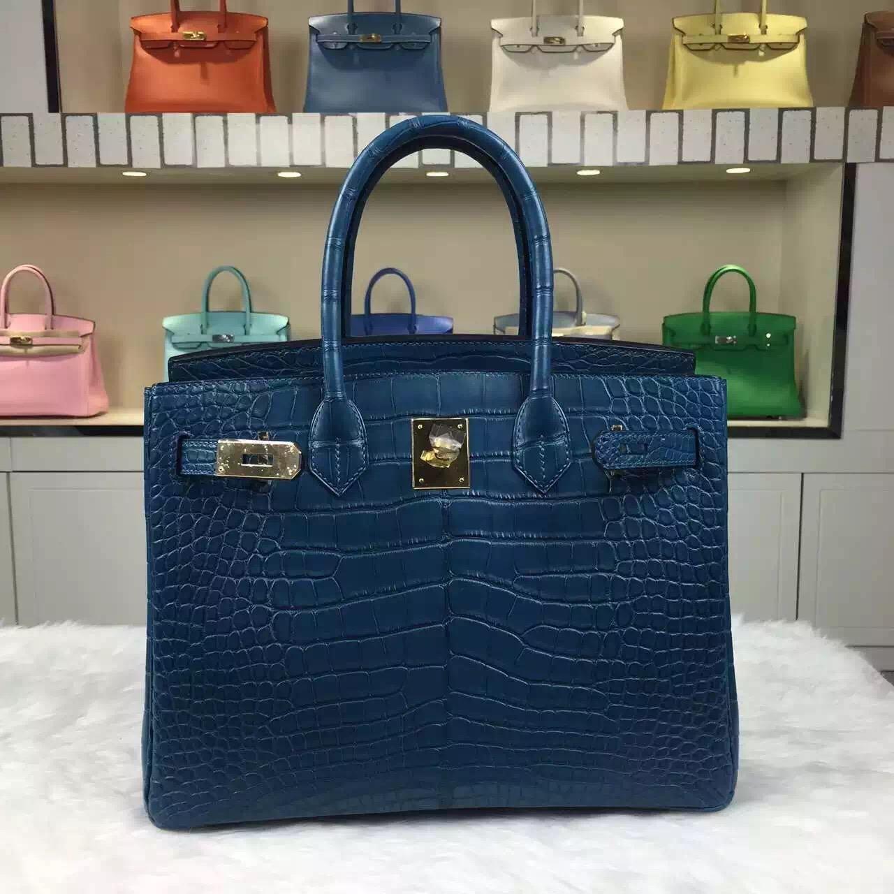 Wholesale Hermes Crocodile Matt Birkin Bag 7L Blue De Maite 30CM