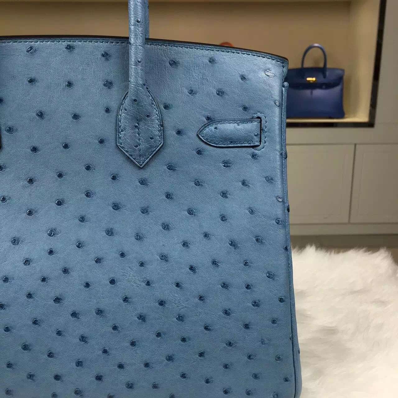 Online Store Hermes Birkin30 Bright Blue Ostrich Leather Tote Bag