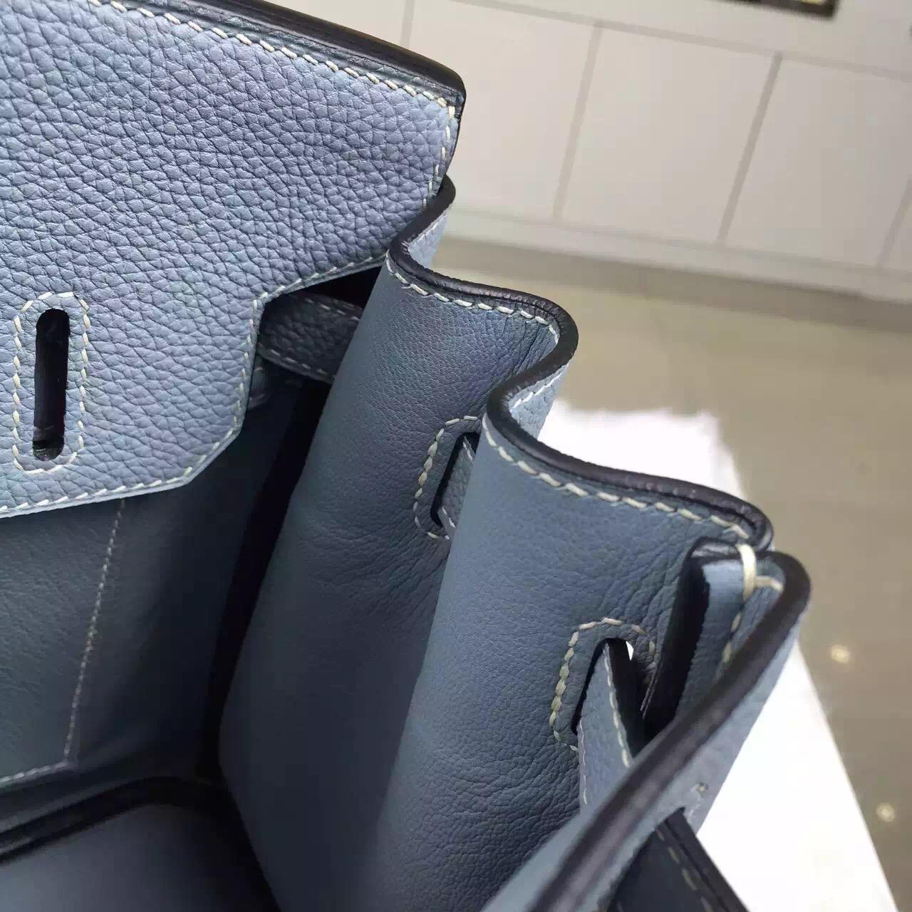 Hand Stitching Hermes Togo Leather Birkin30 Handbag J7 Blue Lin