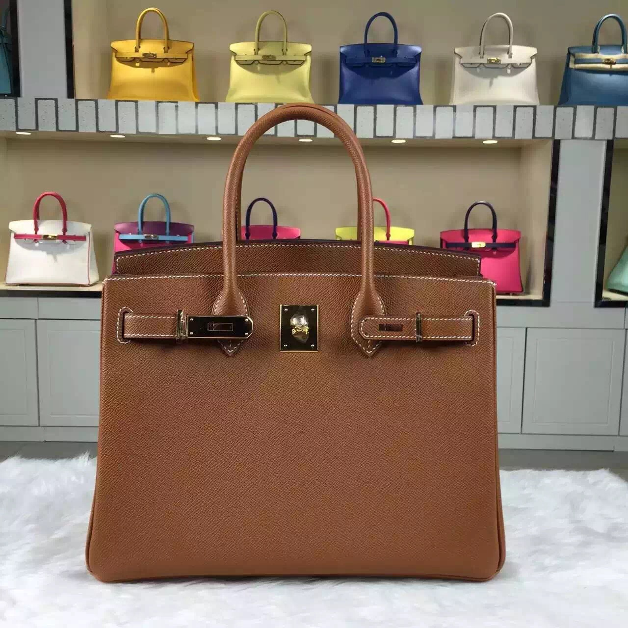 On Sale Hermes CK37 Gold Epsom Leather Birkin Bag30CM Gold Hardware