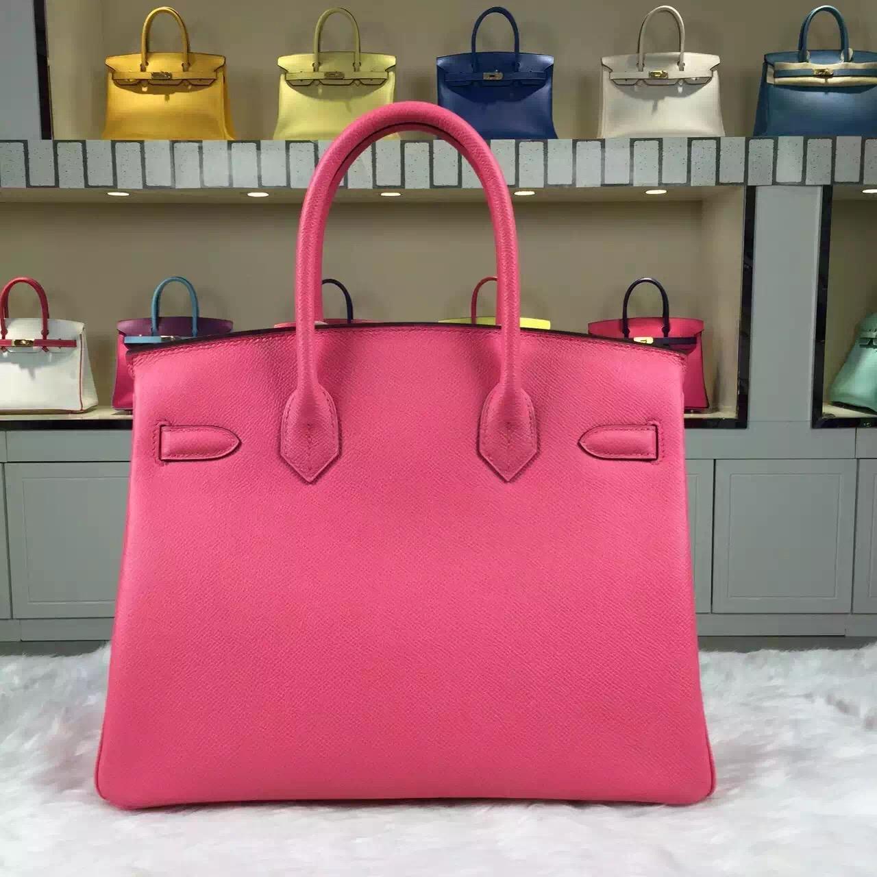 New Pretty Hermes Epsom Leather Birkin Bag30cm in 8W Rose Azalee