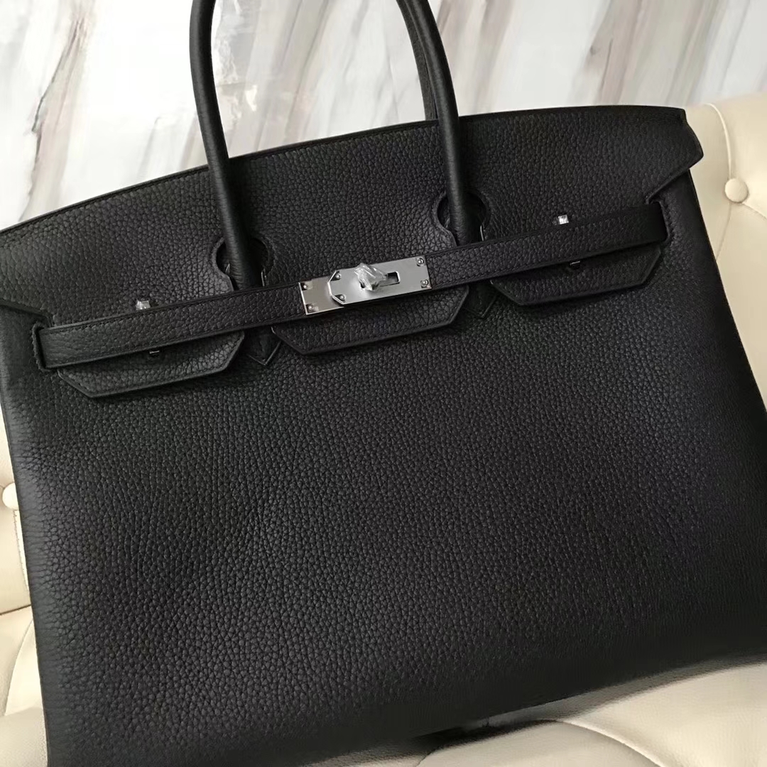 Hermes Togo Birkin 35 Black Silver Hardware