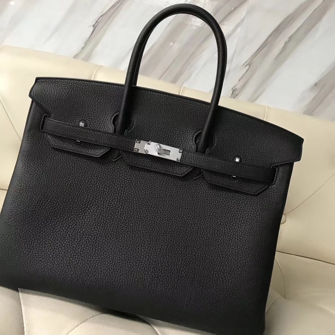 Wholesale Hermes Togo Calf Birkin 35CM Tote Bag in CK89 Black Silver Hardware