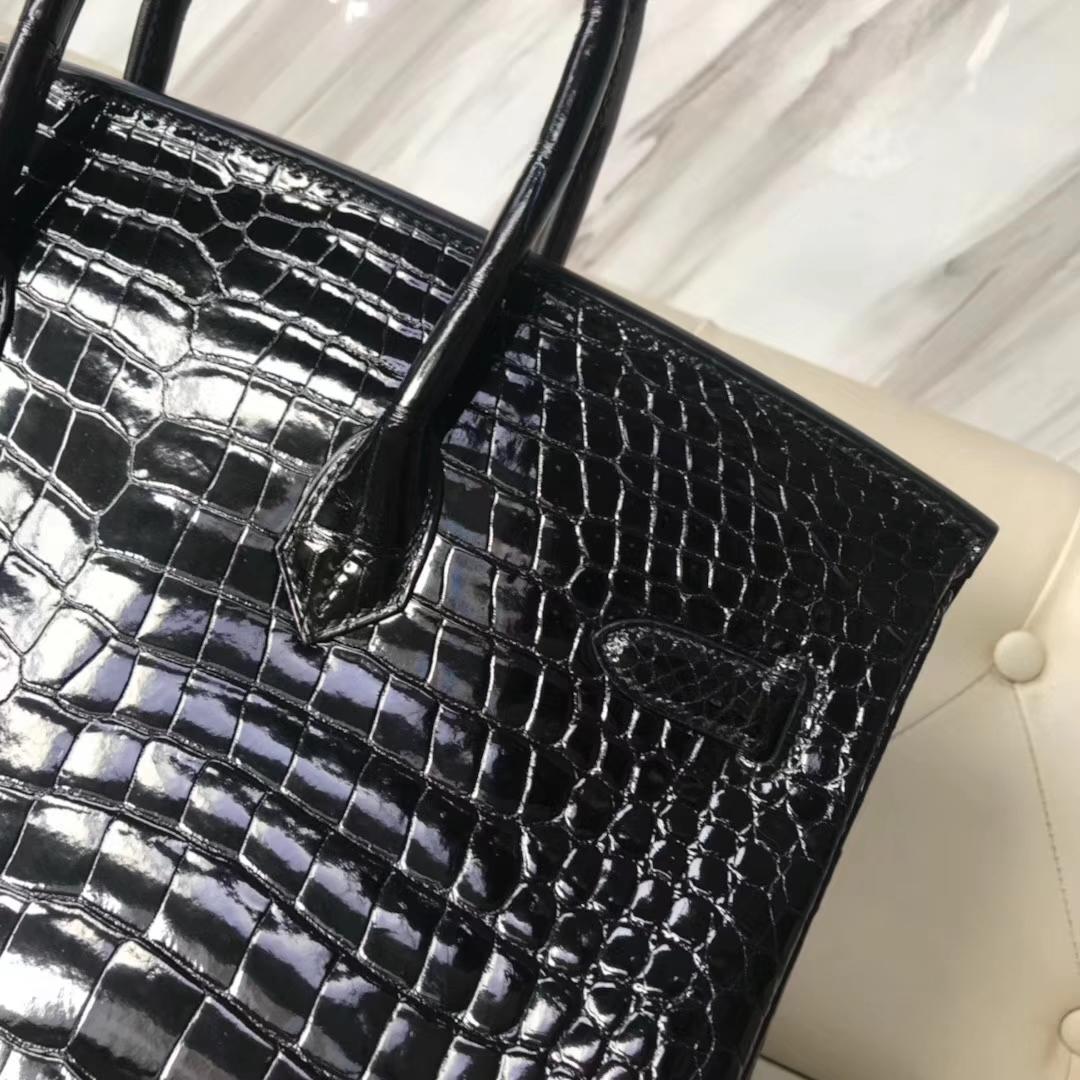 Luxury Hermes Shiny Porosus Crocodile Birkin35CM Bag Gold Hardware