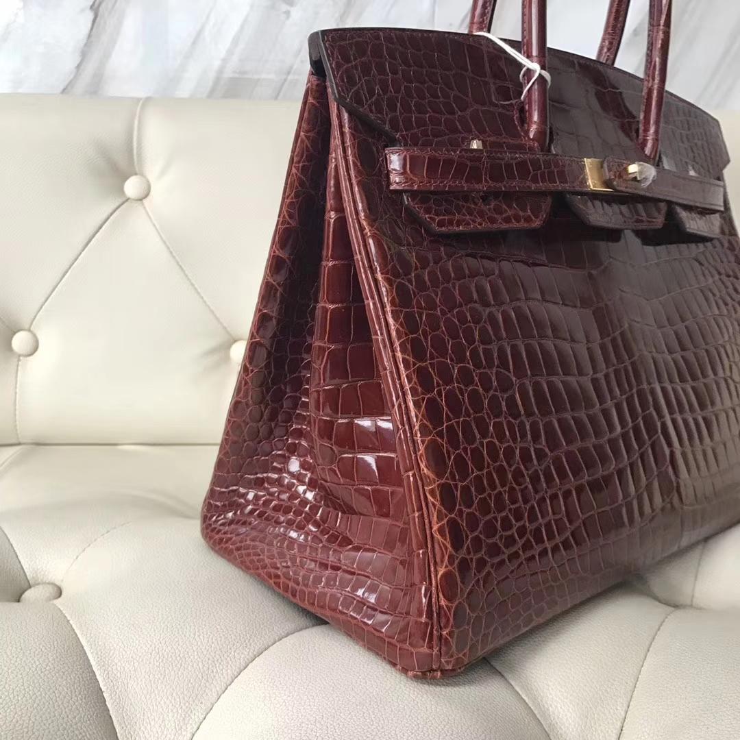 Wholesale Hermes CK31 Miel Shiny CrocodileLeather Birkin35CM Bag Gold Hardware