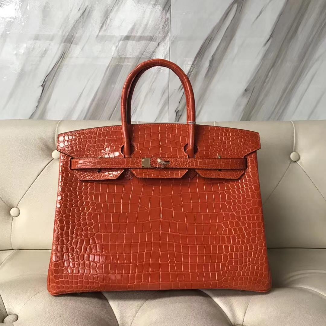 Pretty Hermes Shiny Porosus Crocodile Birkin Bag35CM in 8V Coppy Orange Gold Hardware