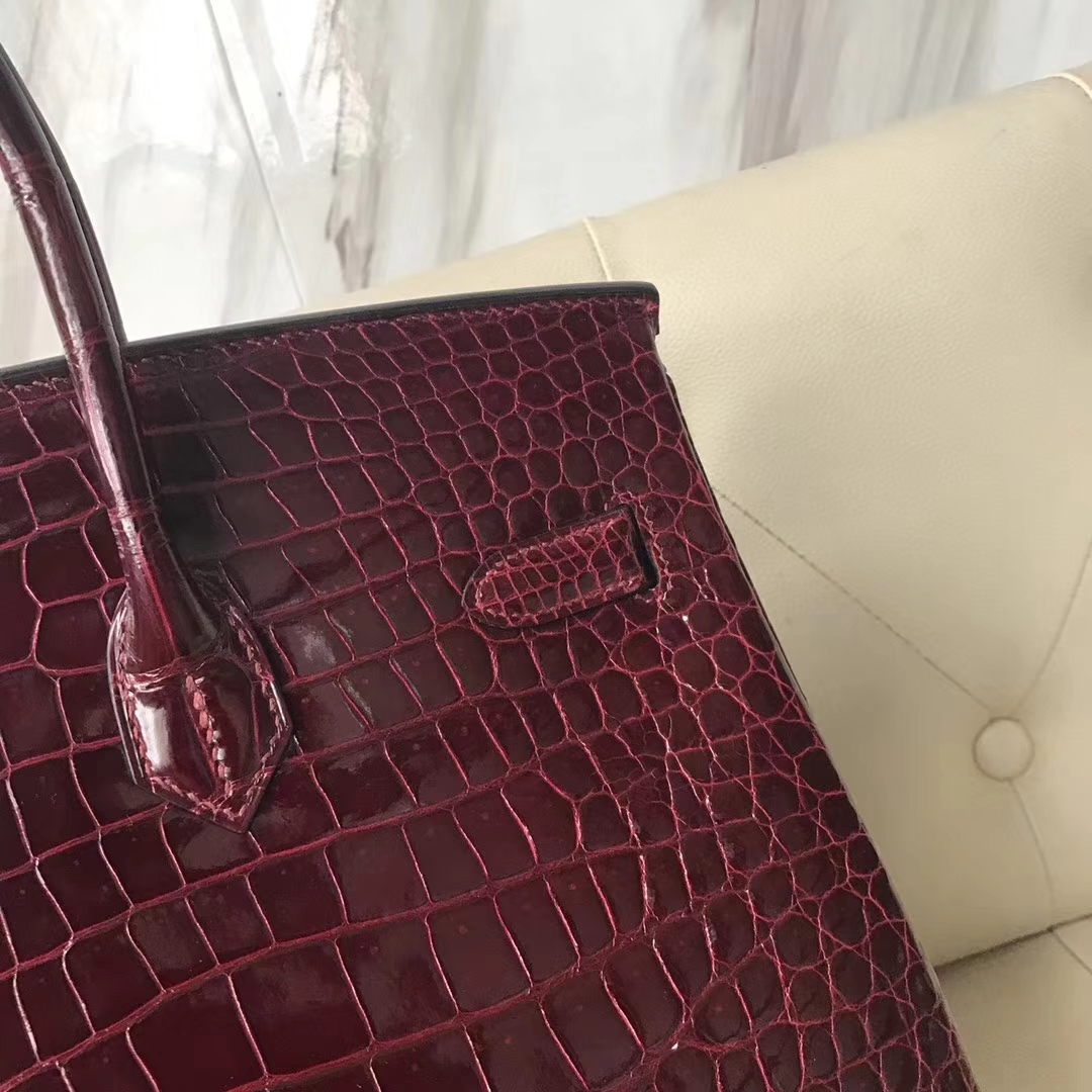 Luxury Hermes F5 Bourgogne Red Shiny Porosus Crocodile Birkin Bag35CM Gold Hardware