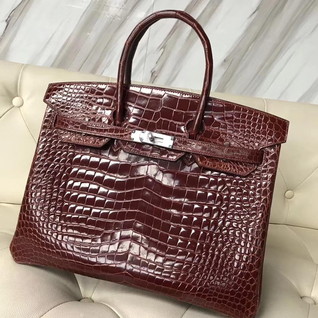 Luxury Hermes Porosus Shiny Crocodile Birkin35CM Bag in CK31 Miel Brown Silver Hardware