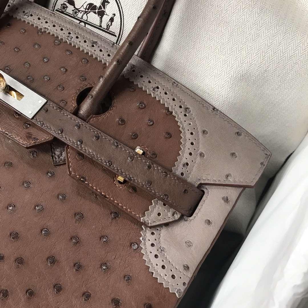 Noble Hermes Tri-color Ostrich Leather Ghillies Birkin Bag35CM Gold Hardware