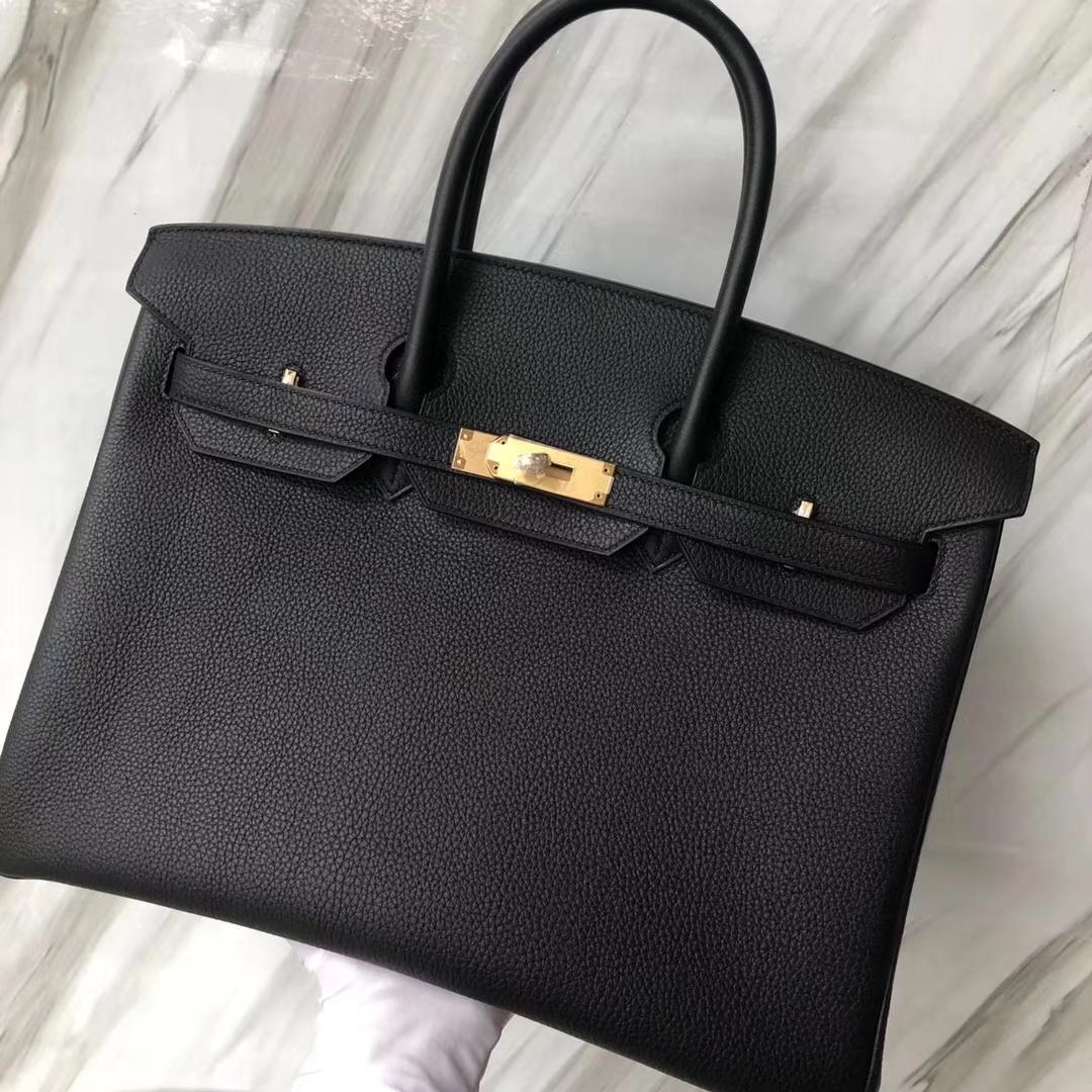 Hermes Birkin 35 Black Togo Gold Hardware