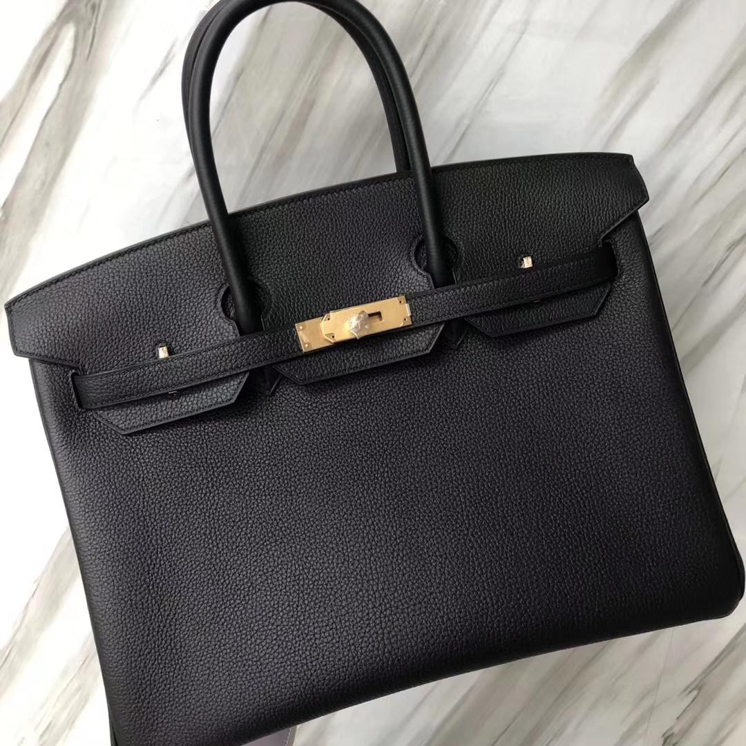 Hermes Togao Birkin 35 Black Gold Hardware