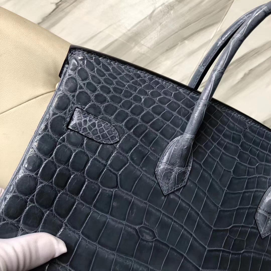 Stock Hermes Shiny Crocodile Birkin35CM Bag in CK75 Blue Jean Silver Hardware