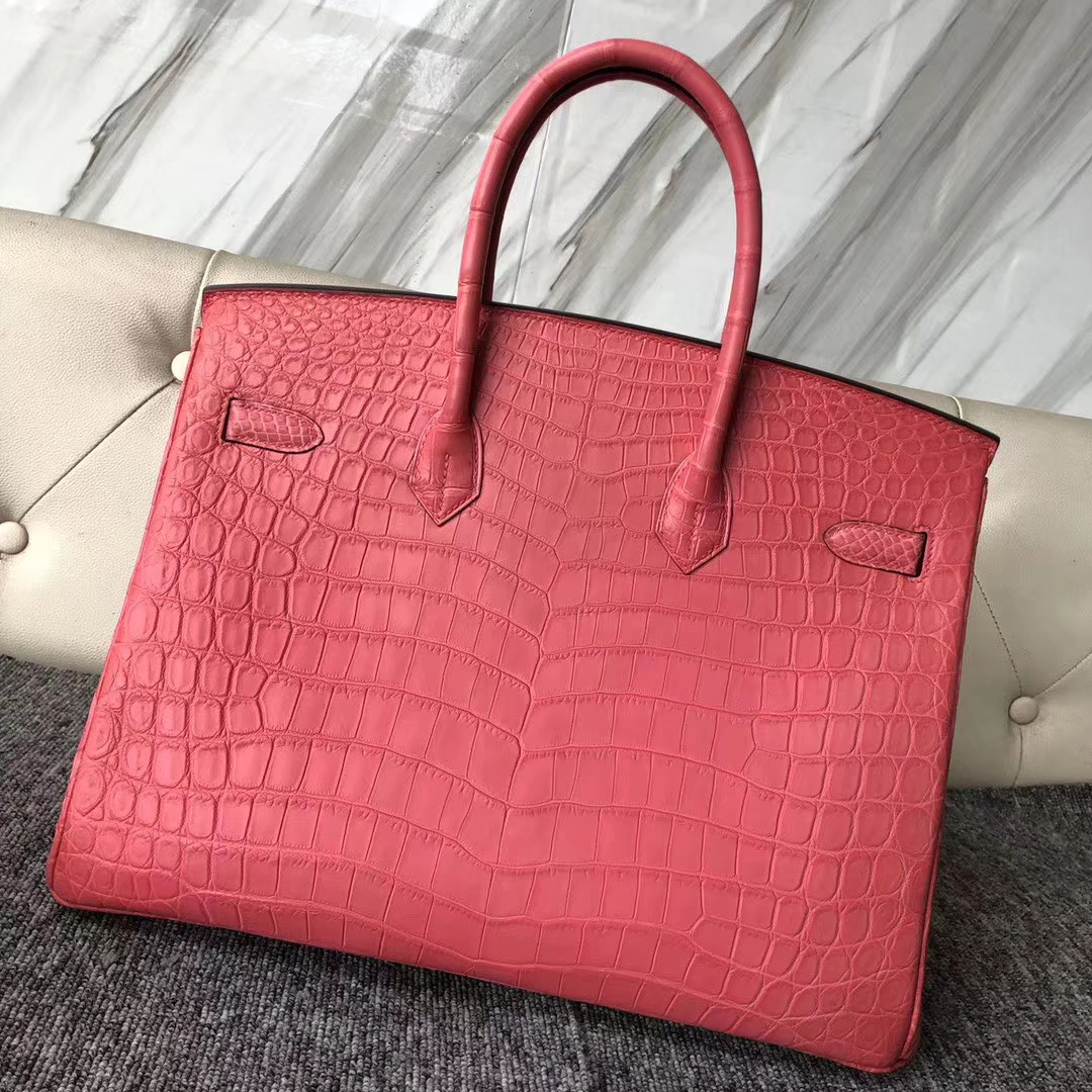 Stock Hermes A5 Bougainvillier Matt Crocodile Birkin Bag35CM Gold Hardware