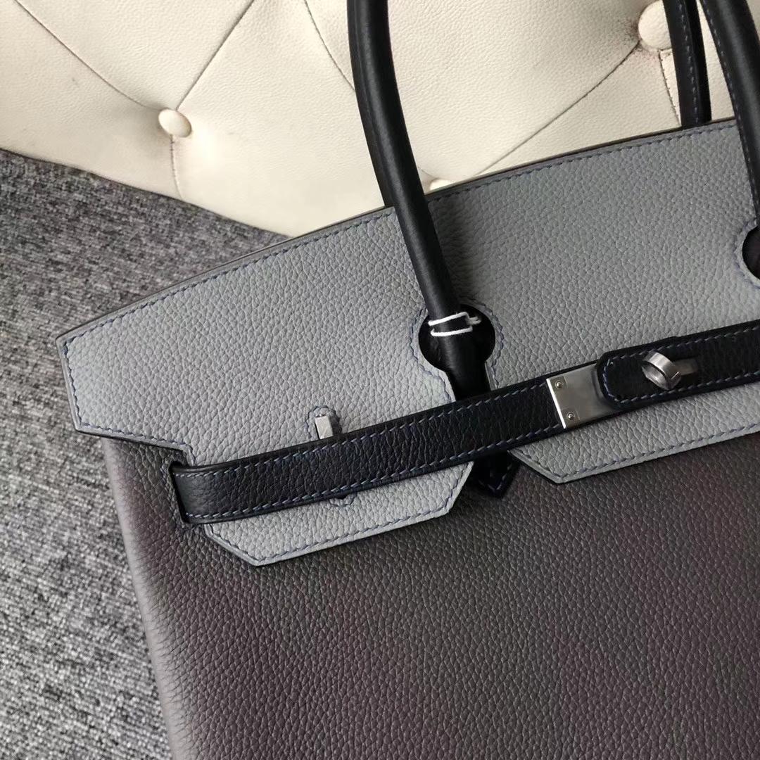 Customize Hermes Tri-color Togo Calf Birkin35CM Bag Silver Hardware