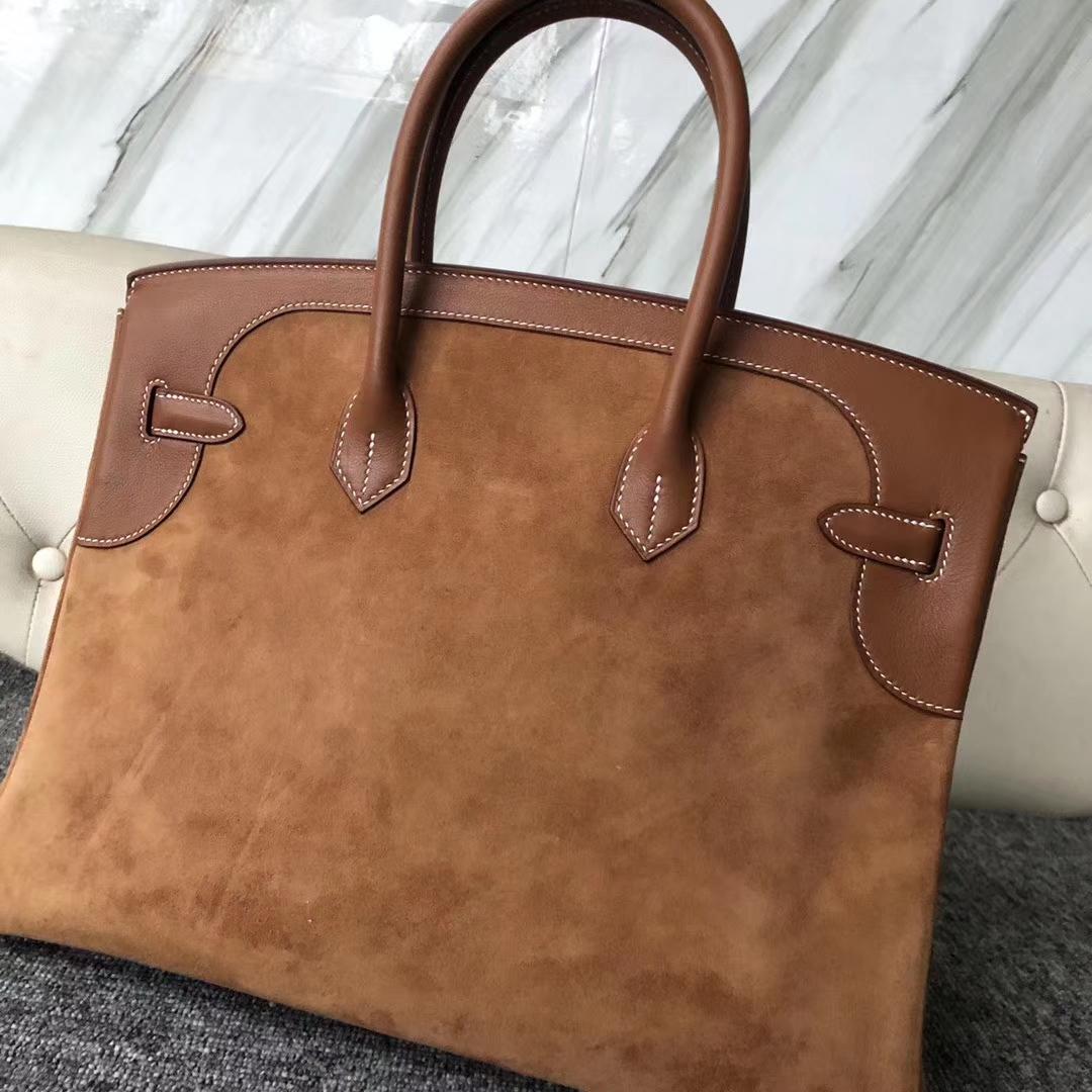 Customize Hermes Gold Suede/Bareniz Leather Birkin35CM Bag Gold Hardware