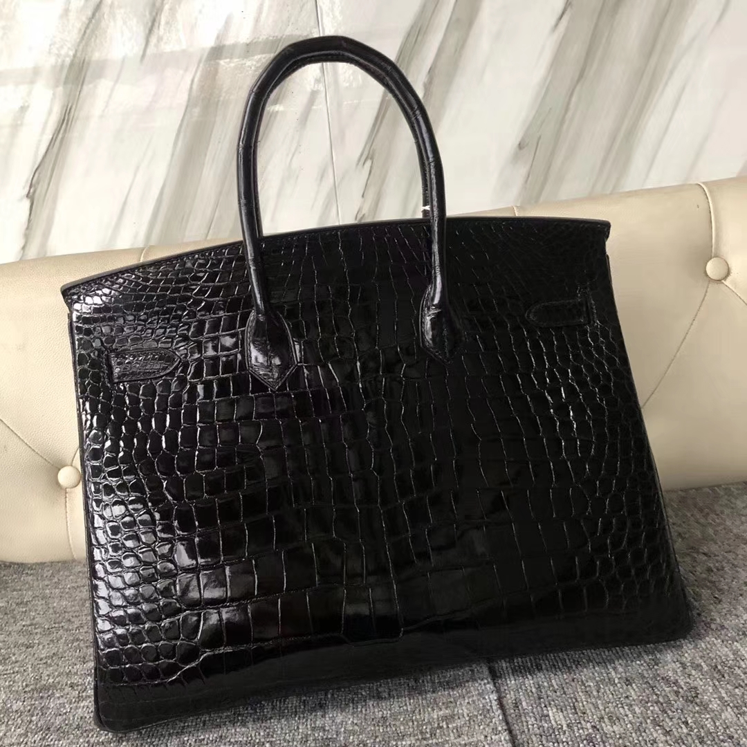 Customize Hermes CK89 Noir Shiny Crocodile Birkin35CM Bag Silver Hardware