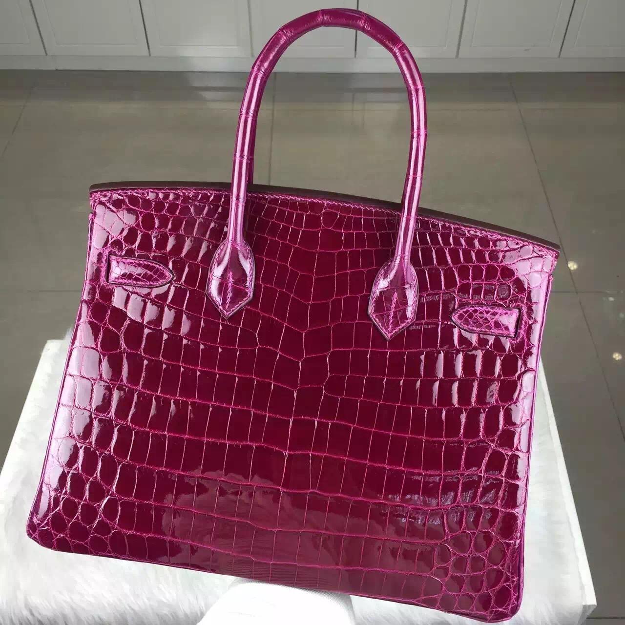 New Fuchsia Color Crocodile Shiny Leather Hermes Birkin Bag30cm Silver Hardware