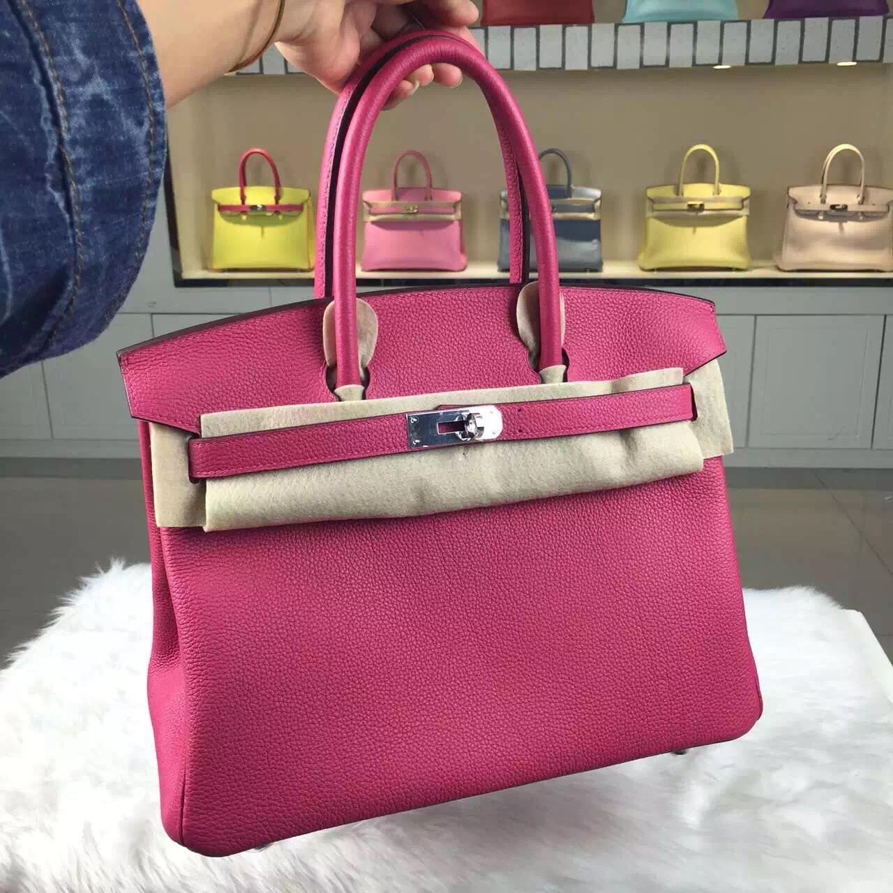 Custom-made Hermes Hot Pink Togo Leather Birkin30 Ladies' Tote Bag