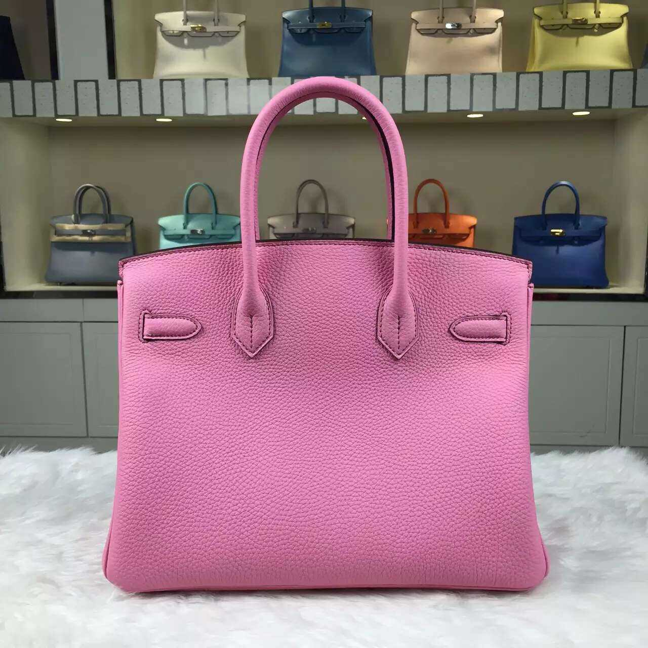 On Sale Hermes Togo Calfskin Leather Birkin Bag 30CM 5P Rose Sakura