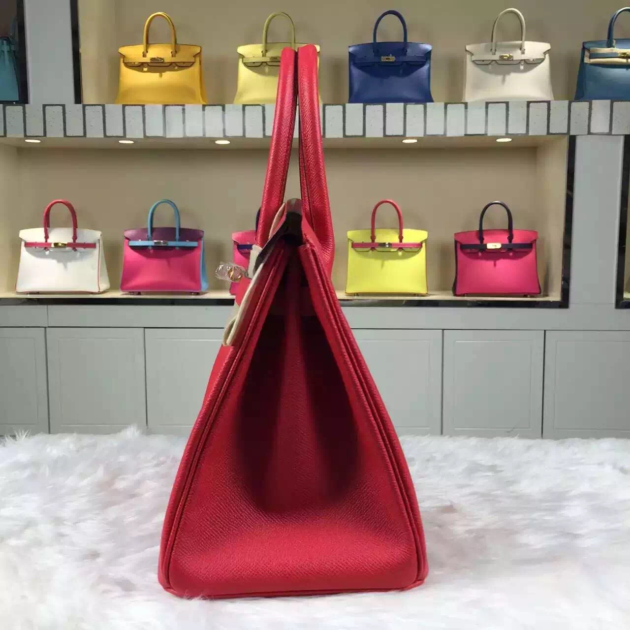 New Pretty Hermes 8V Orange Poppy Epsom Leather Birkin Bag30cm