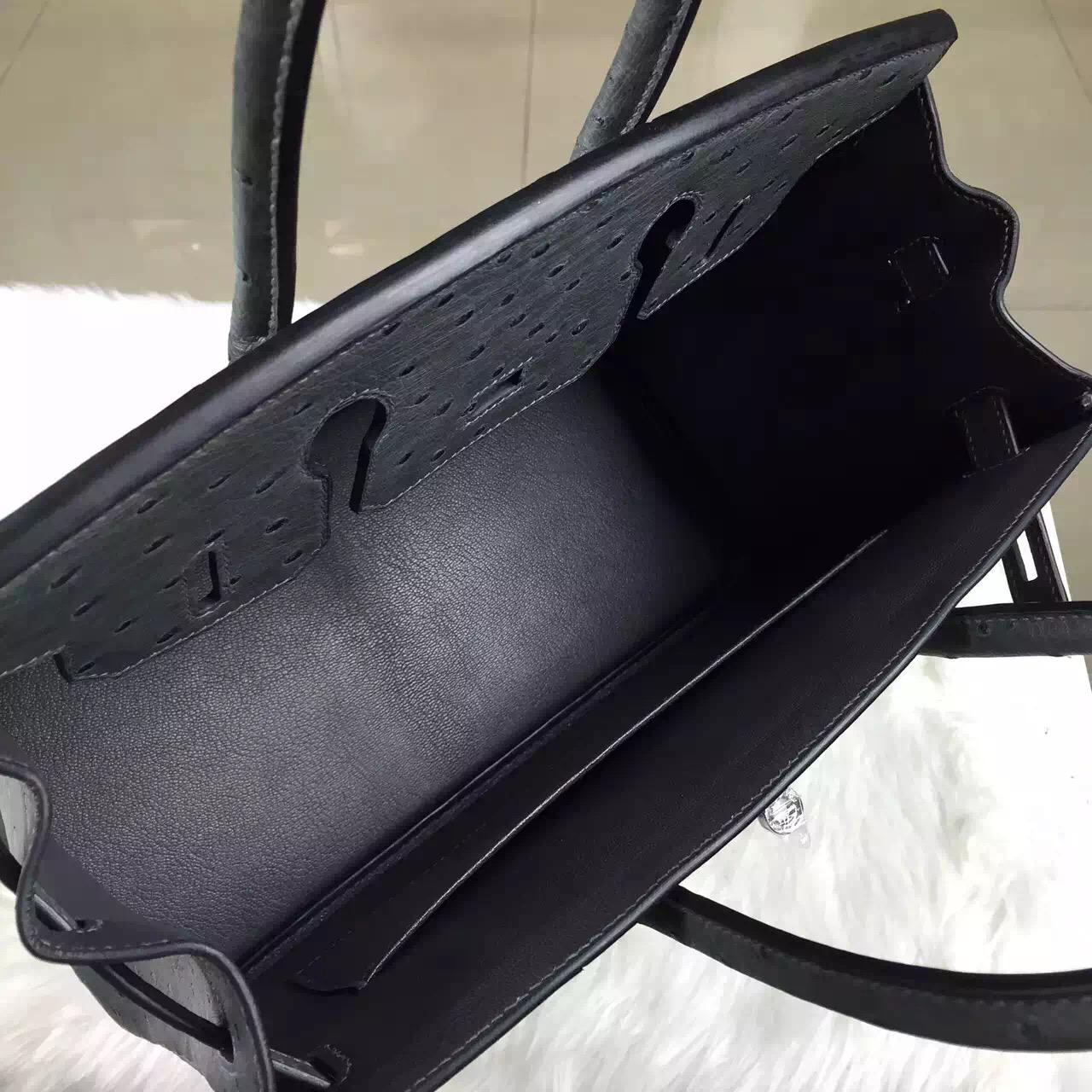 Hand Stitching Hermes Etain Grey Ostrich Leather Birkin Bag30CM