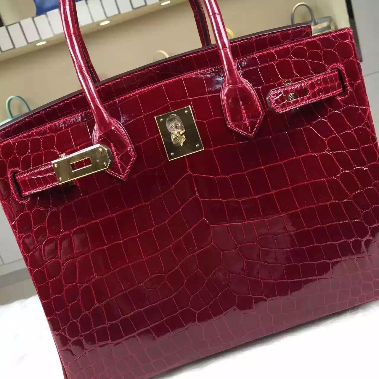 Sale Hermes Crocodile Shiny Leather Birkin30 CK55 Hermes Red